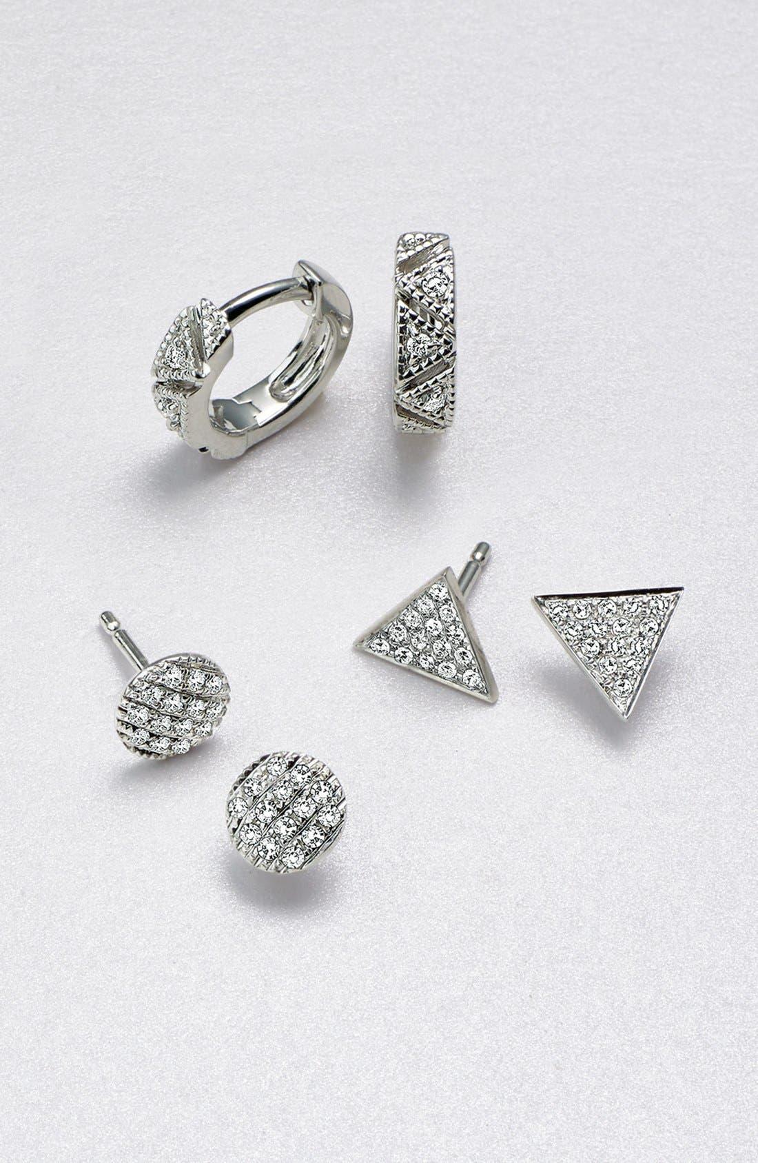 'Emily Sarah' Diamond Pavé Triangle Stud Earrings,                             Alternate thumbnail 4, color,                             YELLOW GOLD