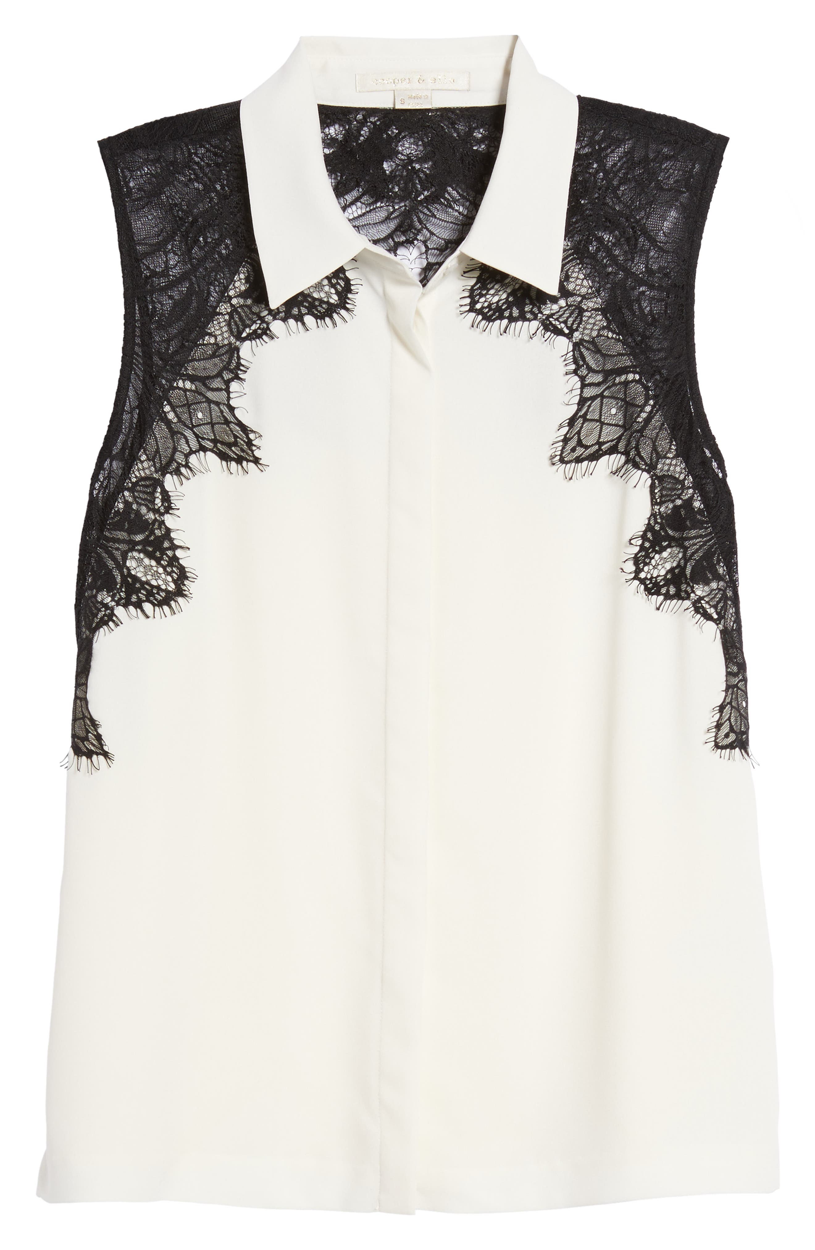 Vera Lace Sleeveless Blouse,                             Alternate thumbnail 6, color,                             900