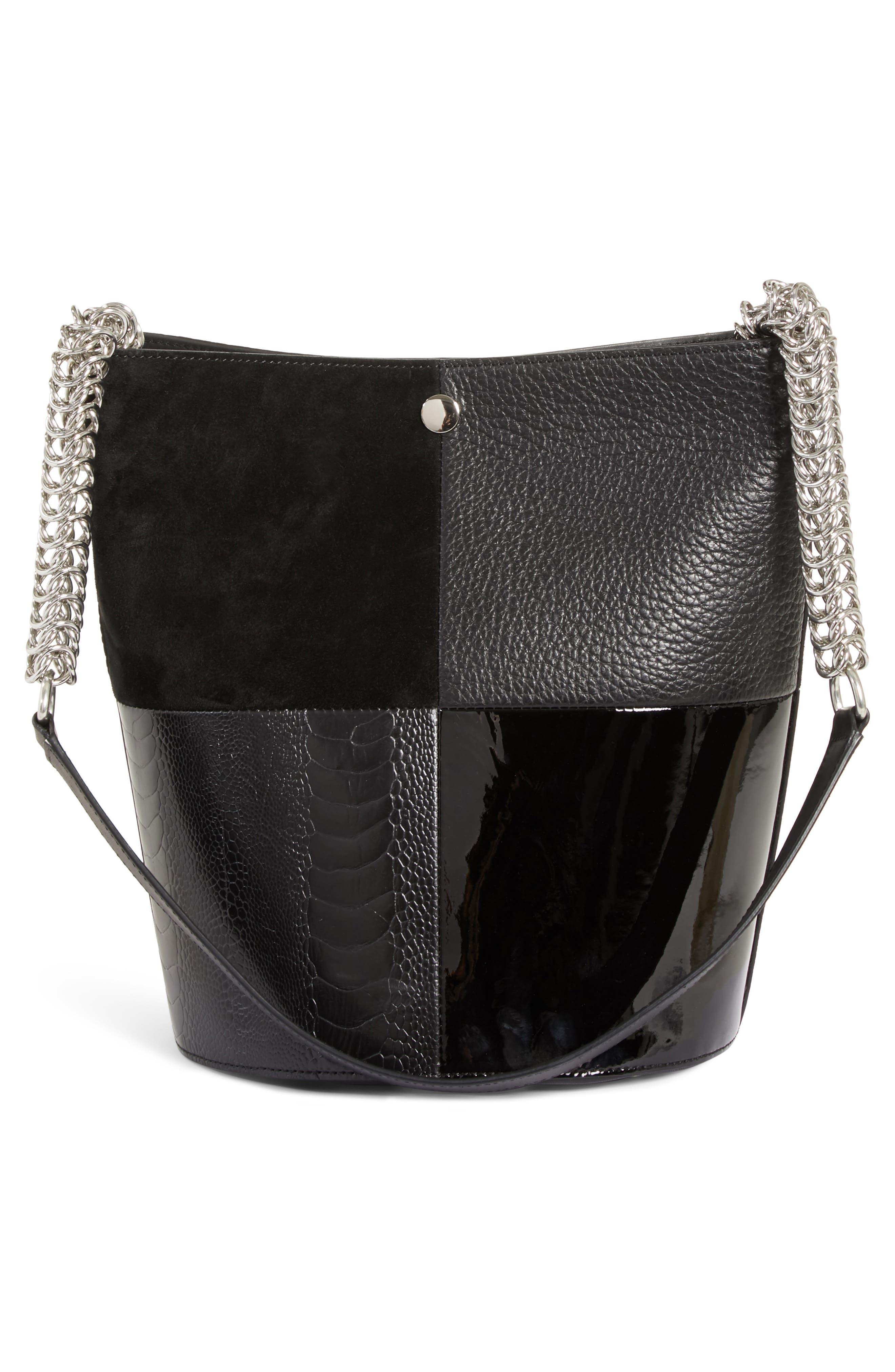 Genesis Patchwork Leather Bucket Bag,                             Alternate thumbnail 3, color,                             BLACK