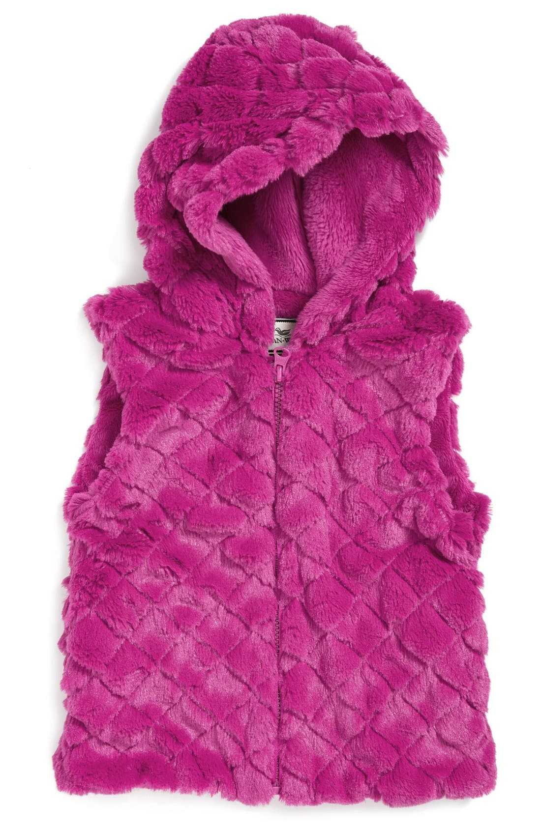 Hooded Faux Fur Vest,                             Main thumbnail 3, color,