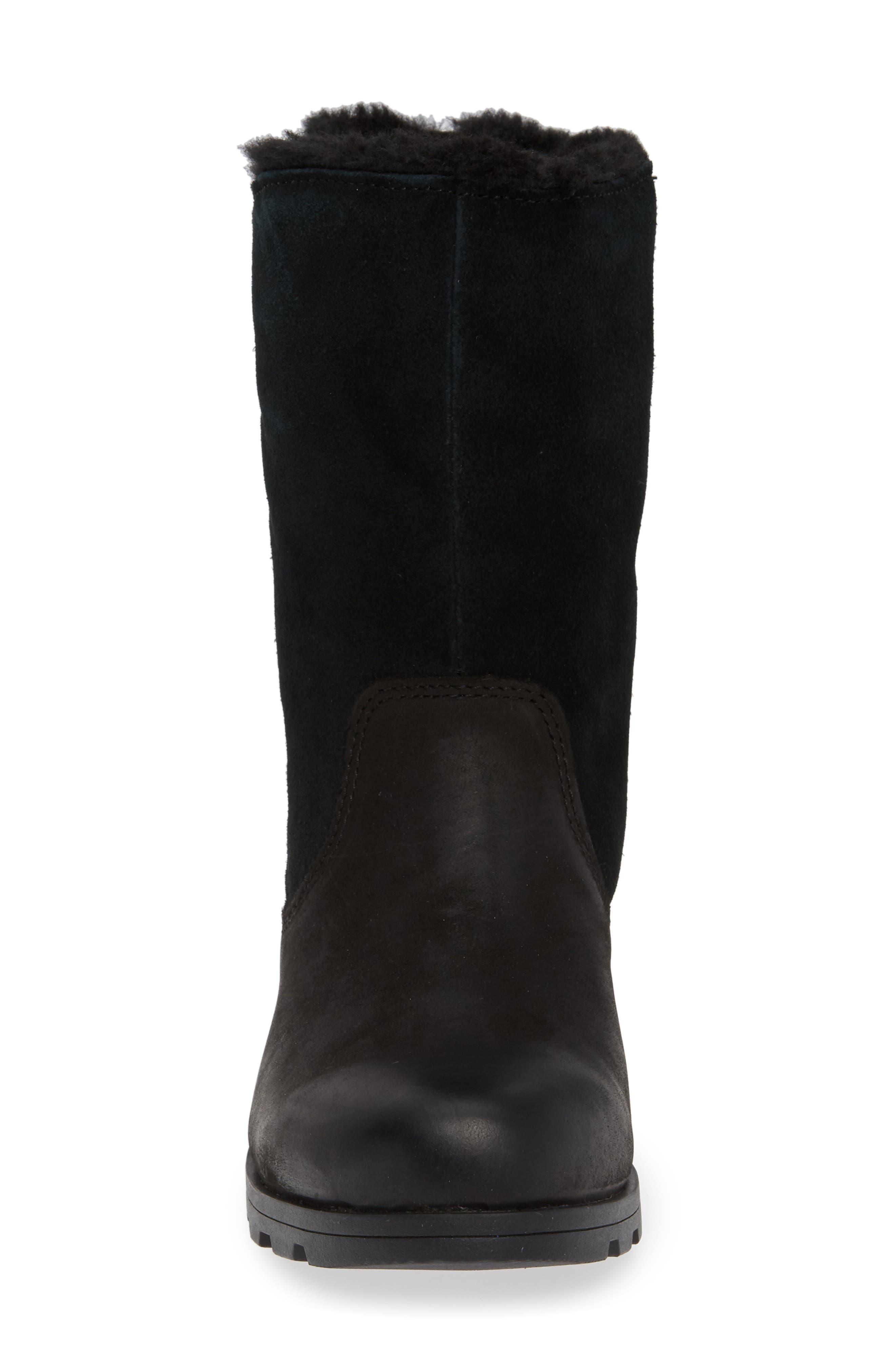 Emelie Waterproof Faux Fur Lined Boot,                             Alternate thumbnail 4, color,                             BLACK