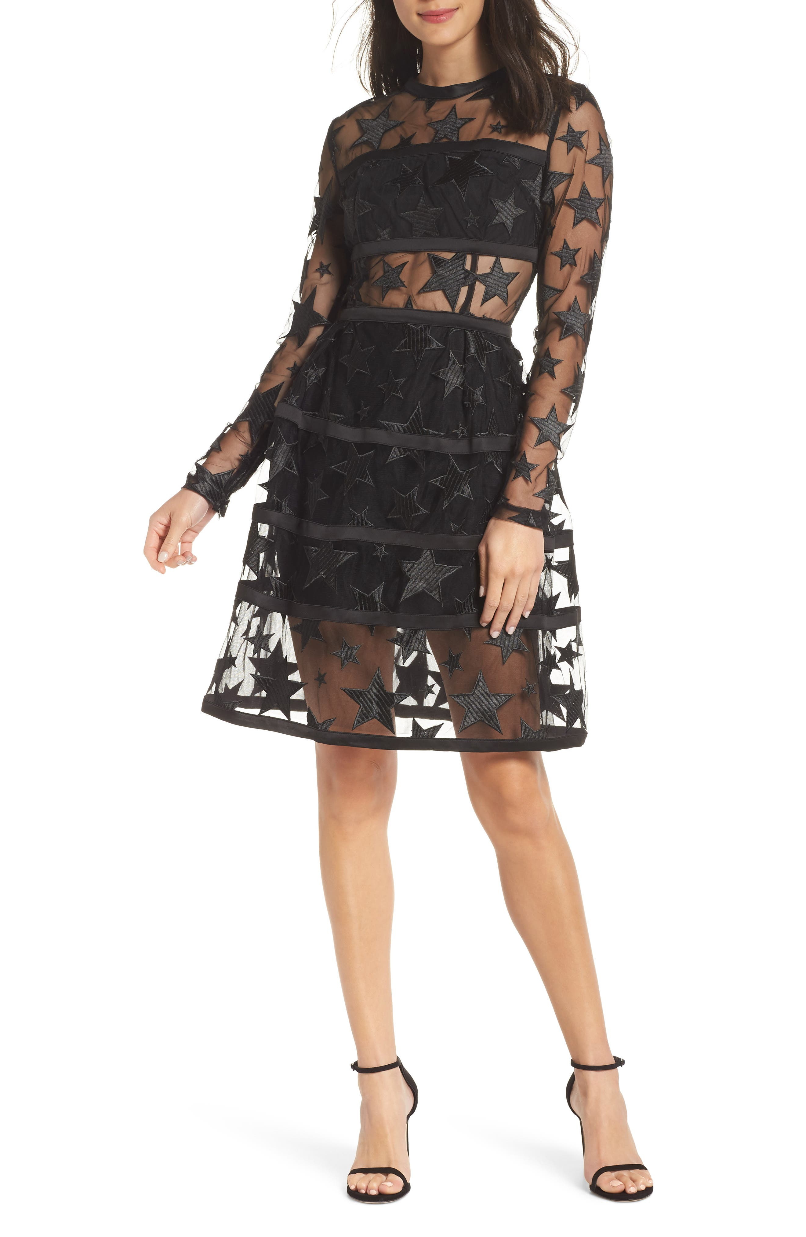 BRONX AND BANCO Adel Star & Stripes Party Dress in Black