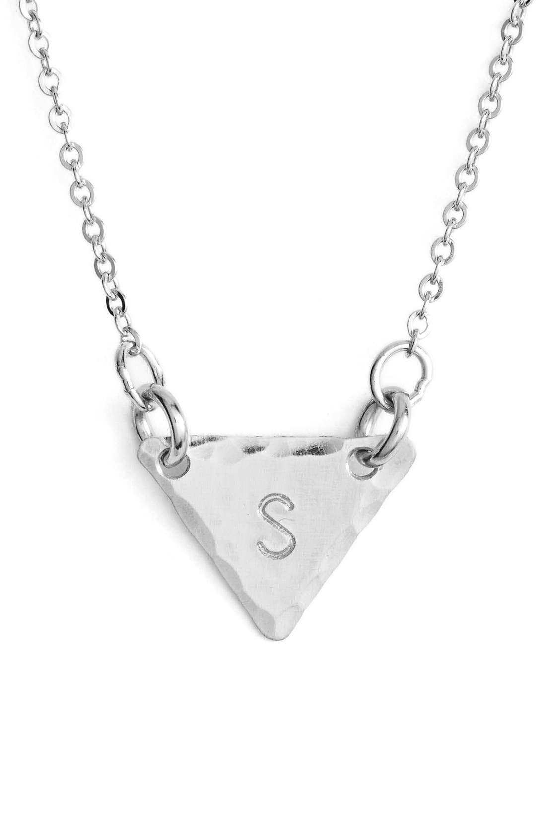 Sterling Silver Initial Mini Triangle Necklace,                             Main thumbnail 19, color,
