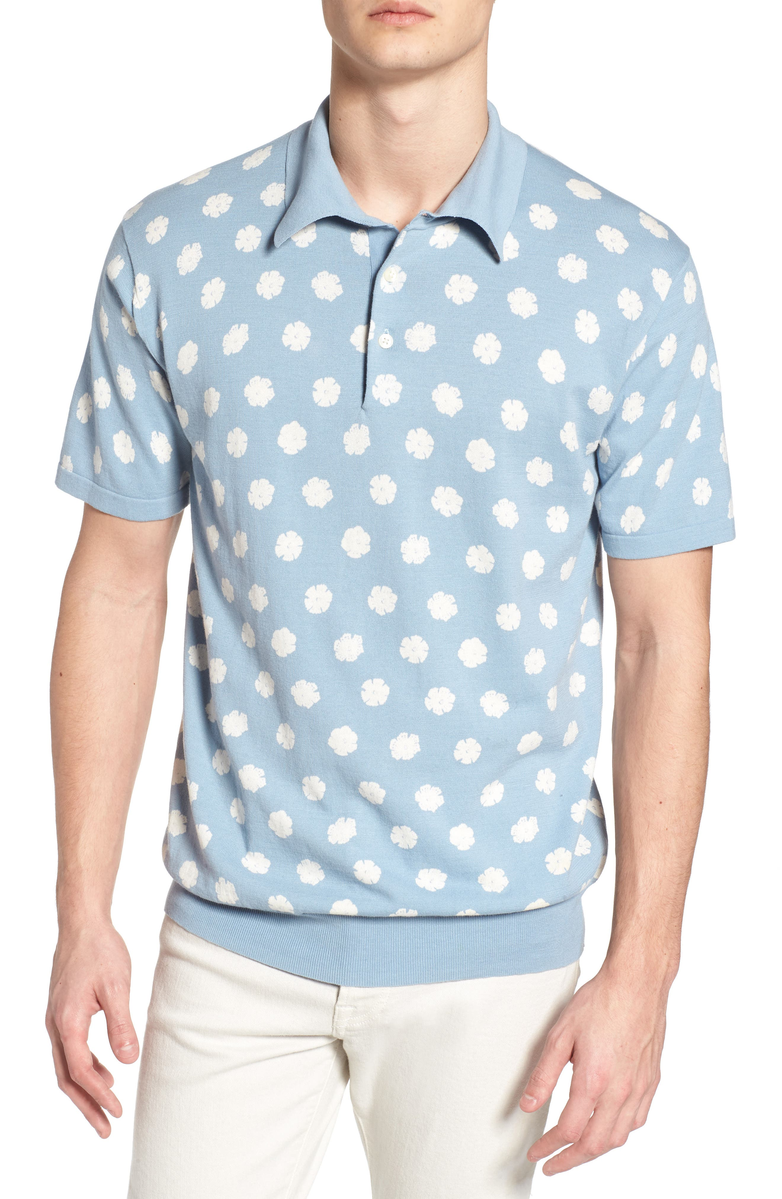 Superfine Hibiscus Slim Fit Polo,                             Main thumbnail 2, color,