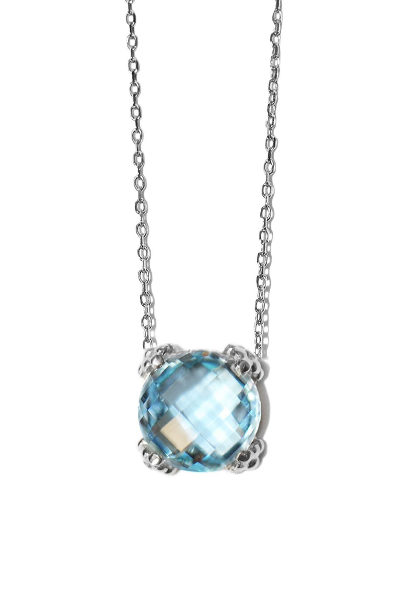 Dew Drop Cluster Topaz Pendant Necklace,                             Main thumbnail 1, color,                             BLUE TOPAZ