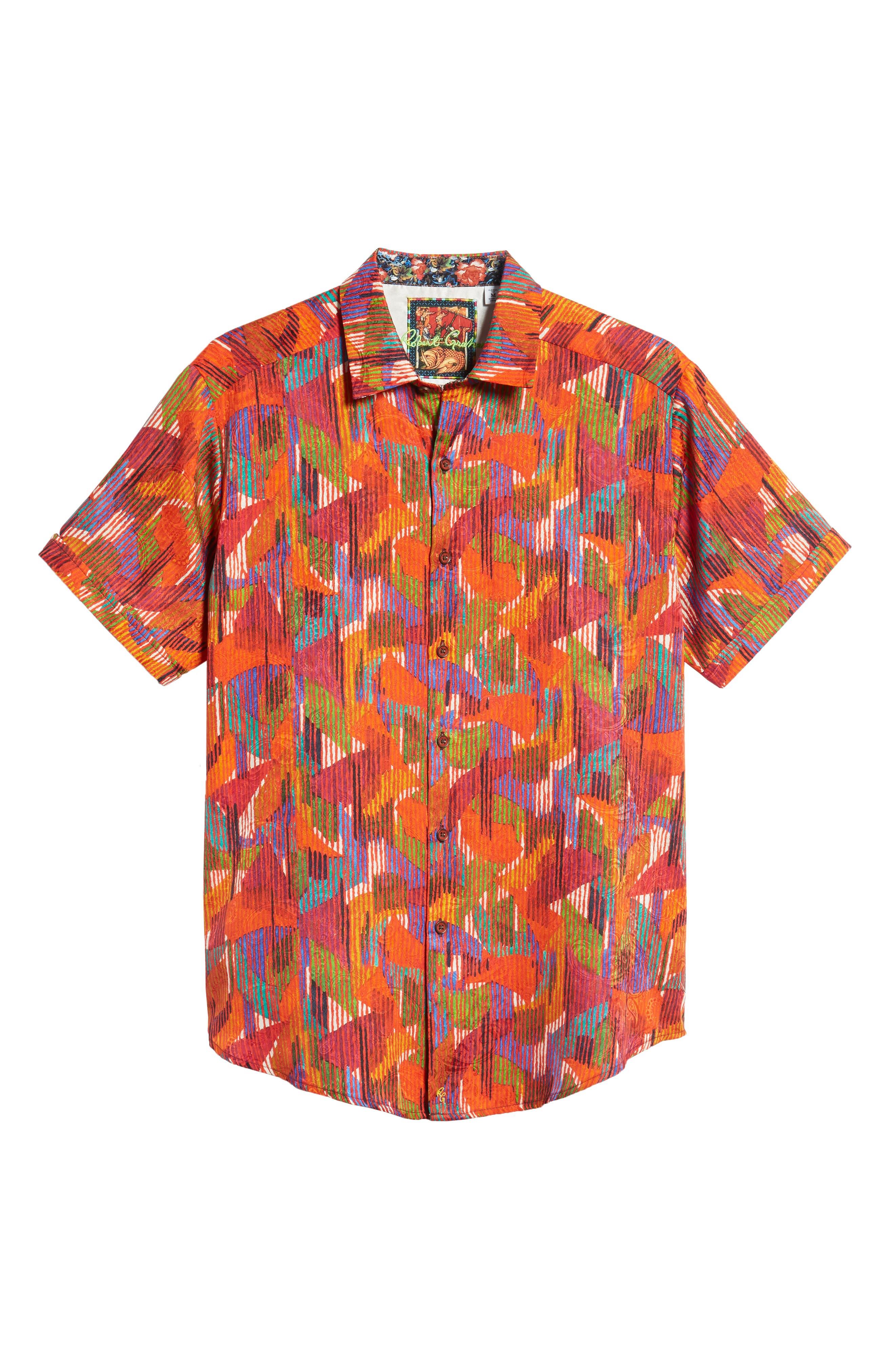 ROBERT GRAHAM,                             Gallagher Classic Fit Silk Blend Sport Shirt,                             Alternate thumbnail 5, color,                             600