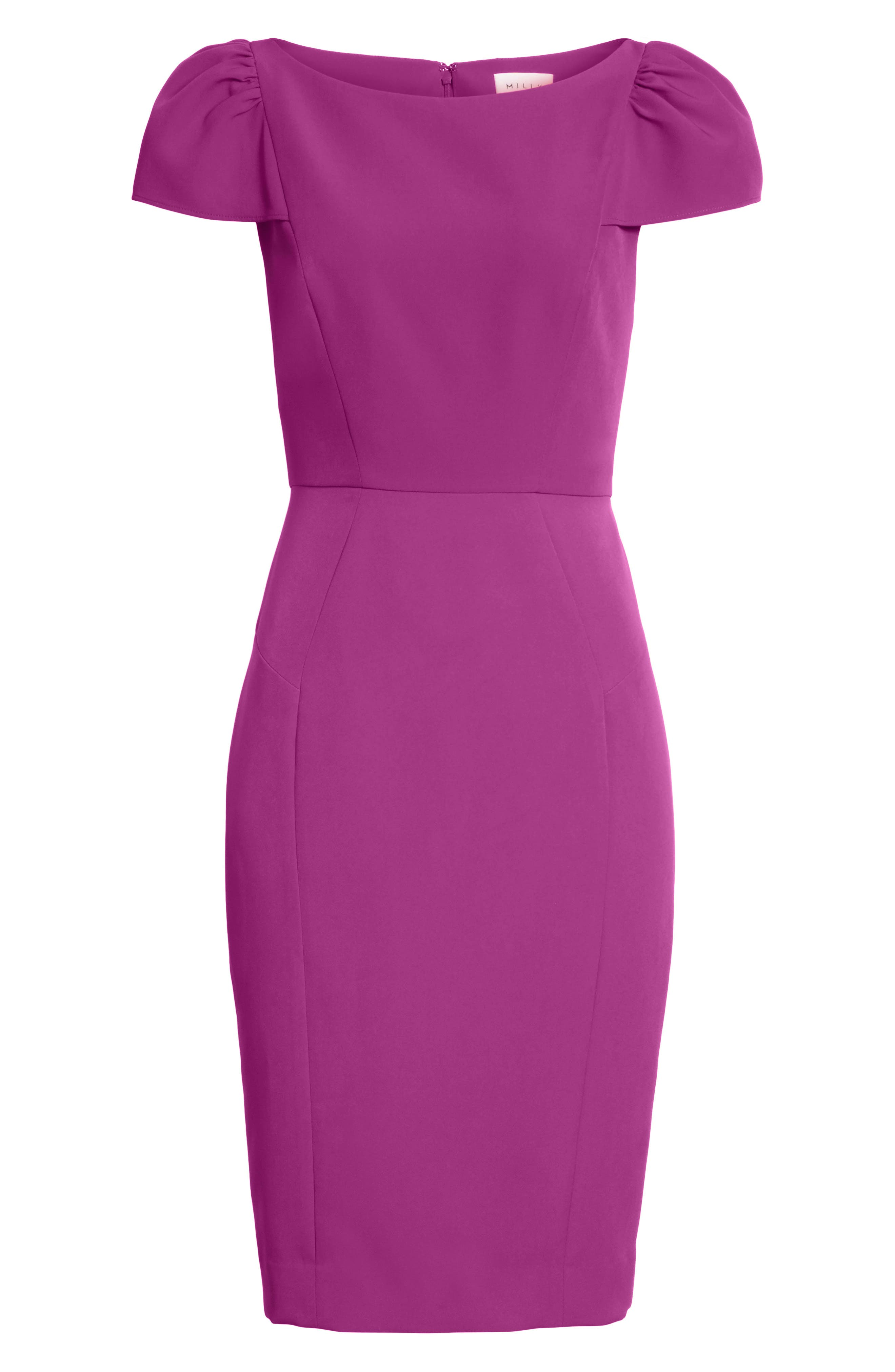 Italian Cady Gathered Sleeve Sheath Dress,                             Alternate thumbnail 7, color,                             569
