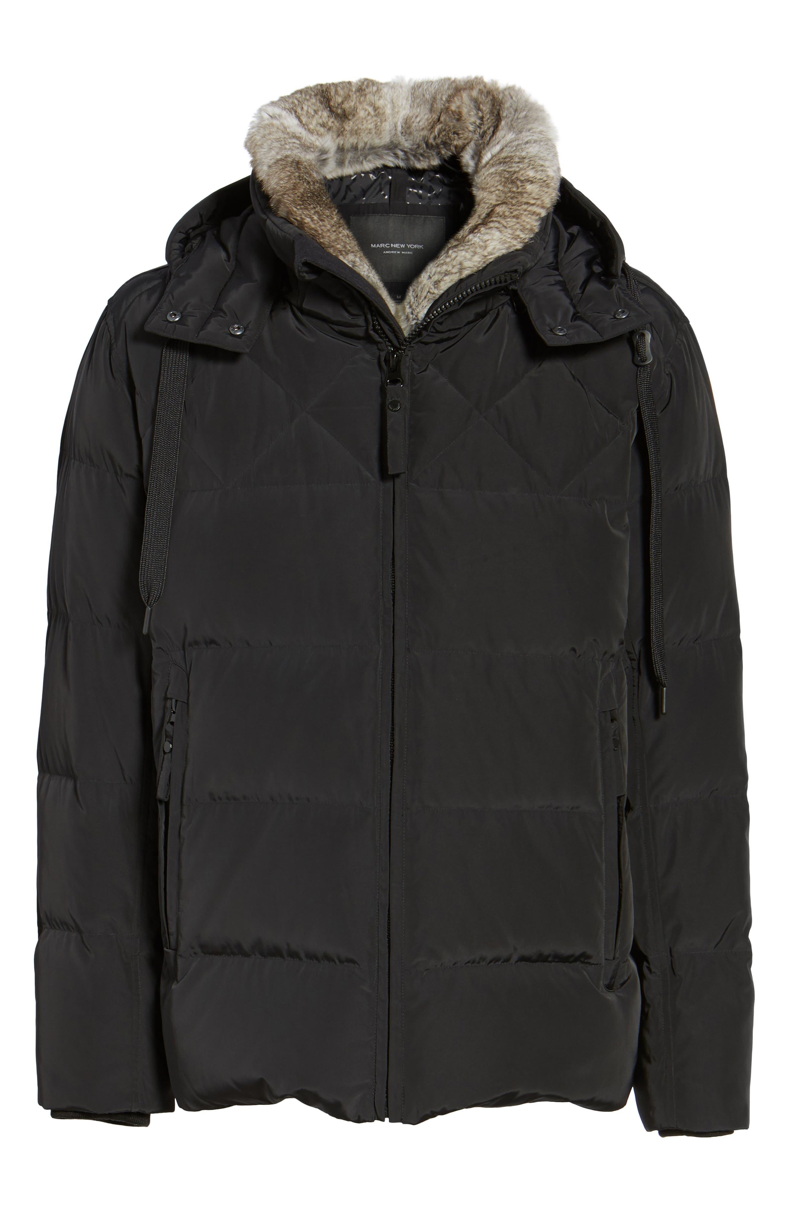Navan Quilted Down Jacket with Genuine Rabbit Fur Trim,                             Alternate thumbnail 5, color,                             001