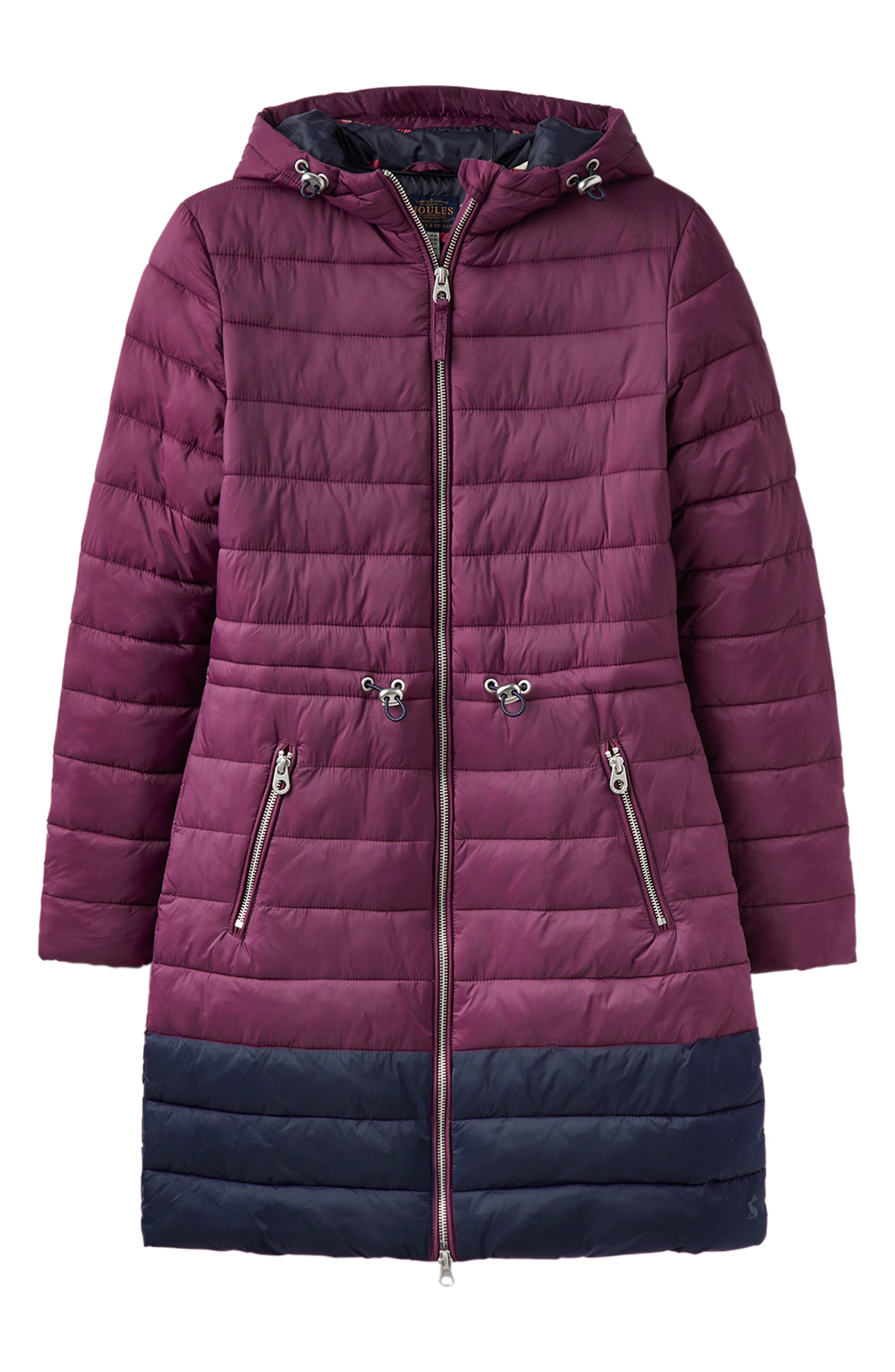 JOULES,                             Heathcote Two-Tone Puffer Jacket,                             Alternate thumbnail 6, color,                             BURGUNDY