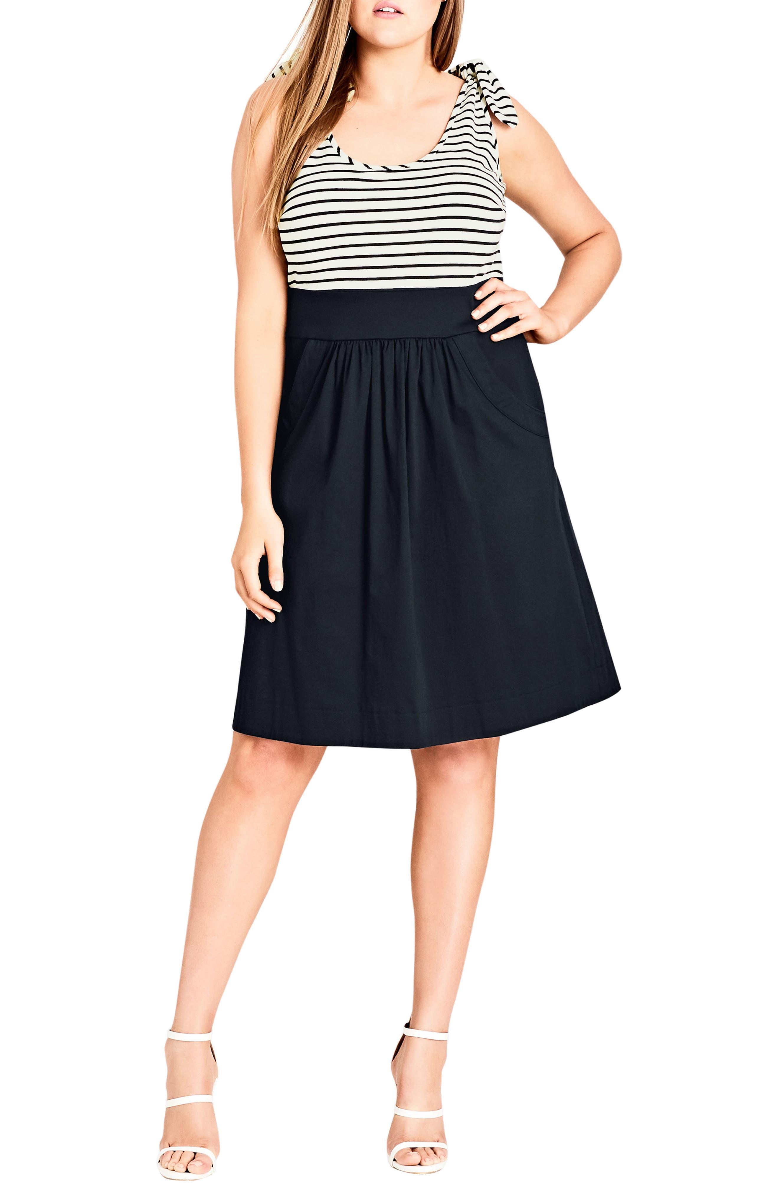 Ahoy Knot Strap Dress,                         Main,                         color, NAVY