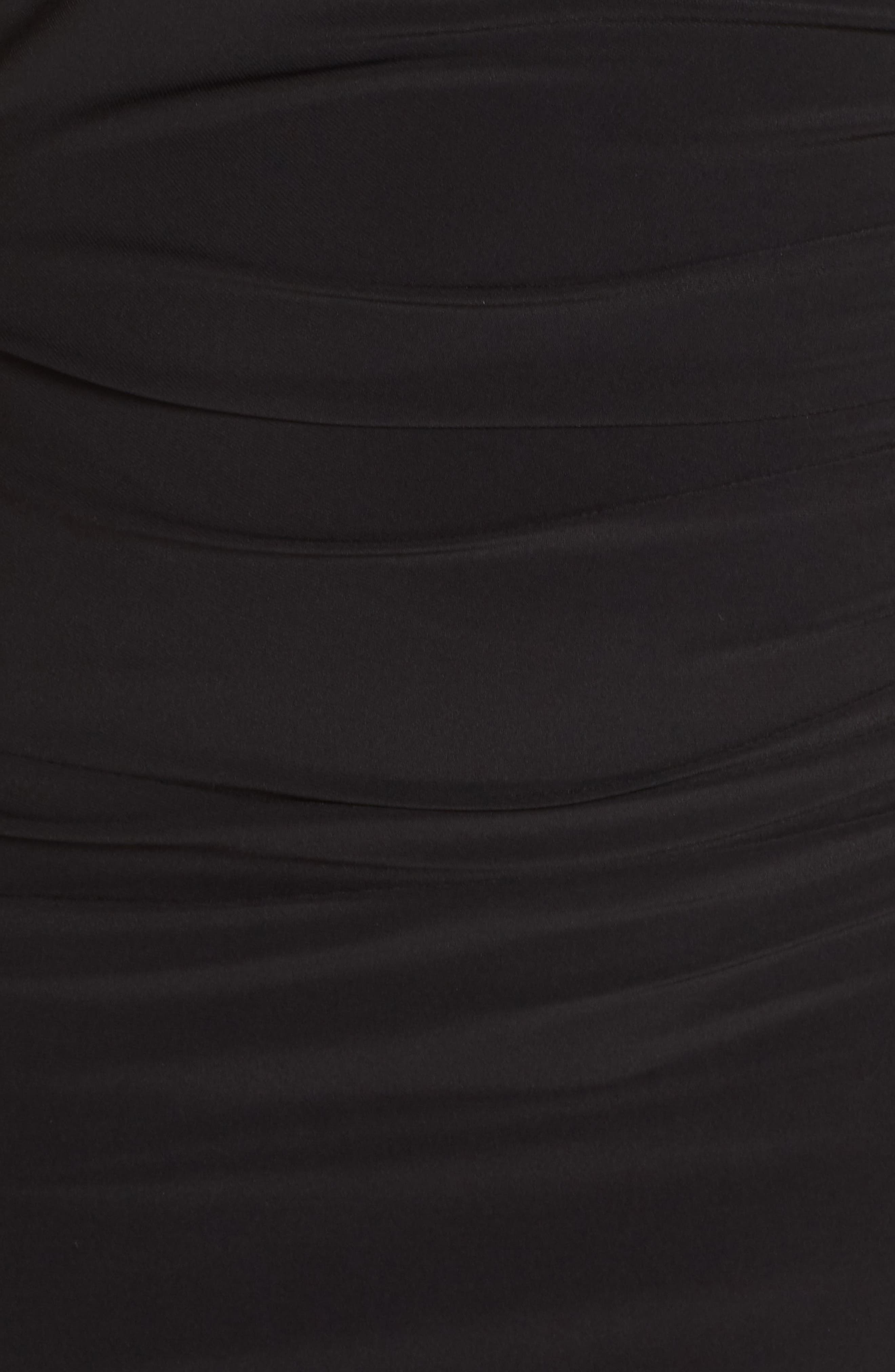 Pleated Chiffon Popover Gown,                             Alternate thumbnail 6, color,                             BLACK