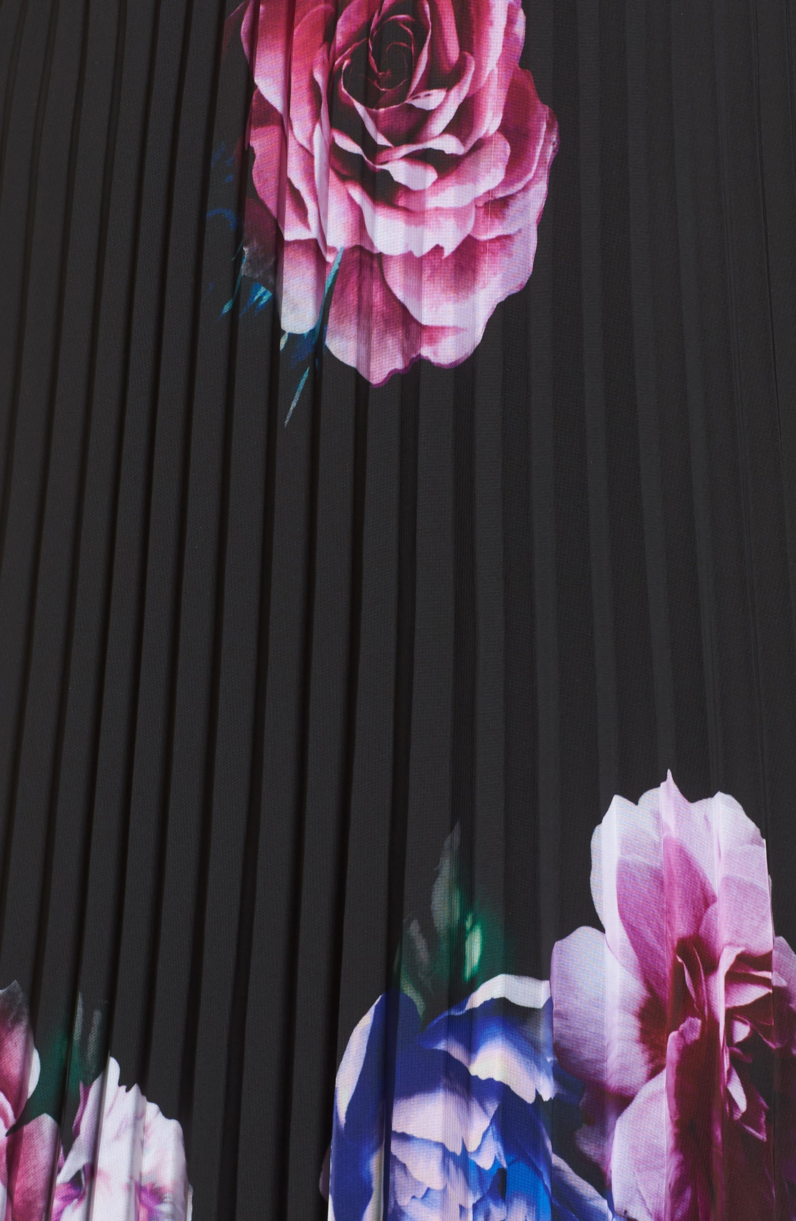 Halter Neck Gown,                             Alternate thumbnail 5, color,                             BLACK/ MAGENTA