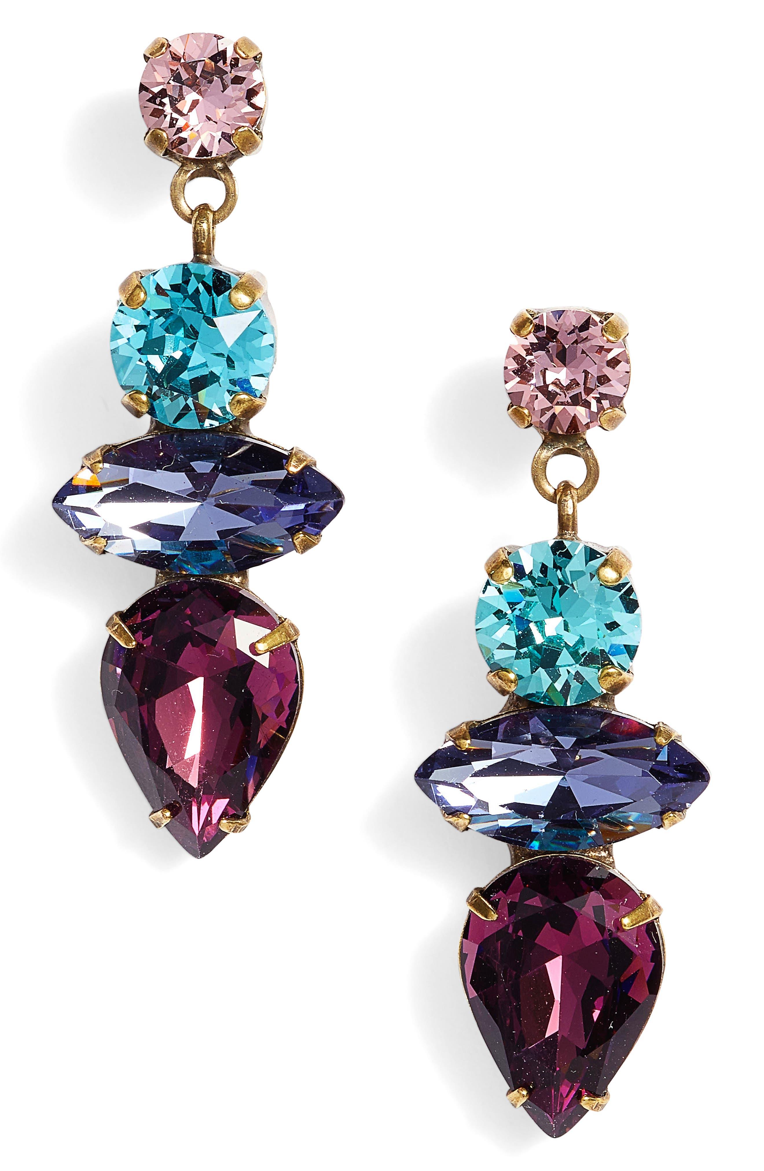 Narcissus Crystal Drop Earrings,                             Main thumbnail 1, color,                             710