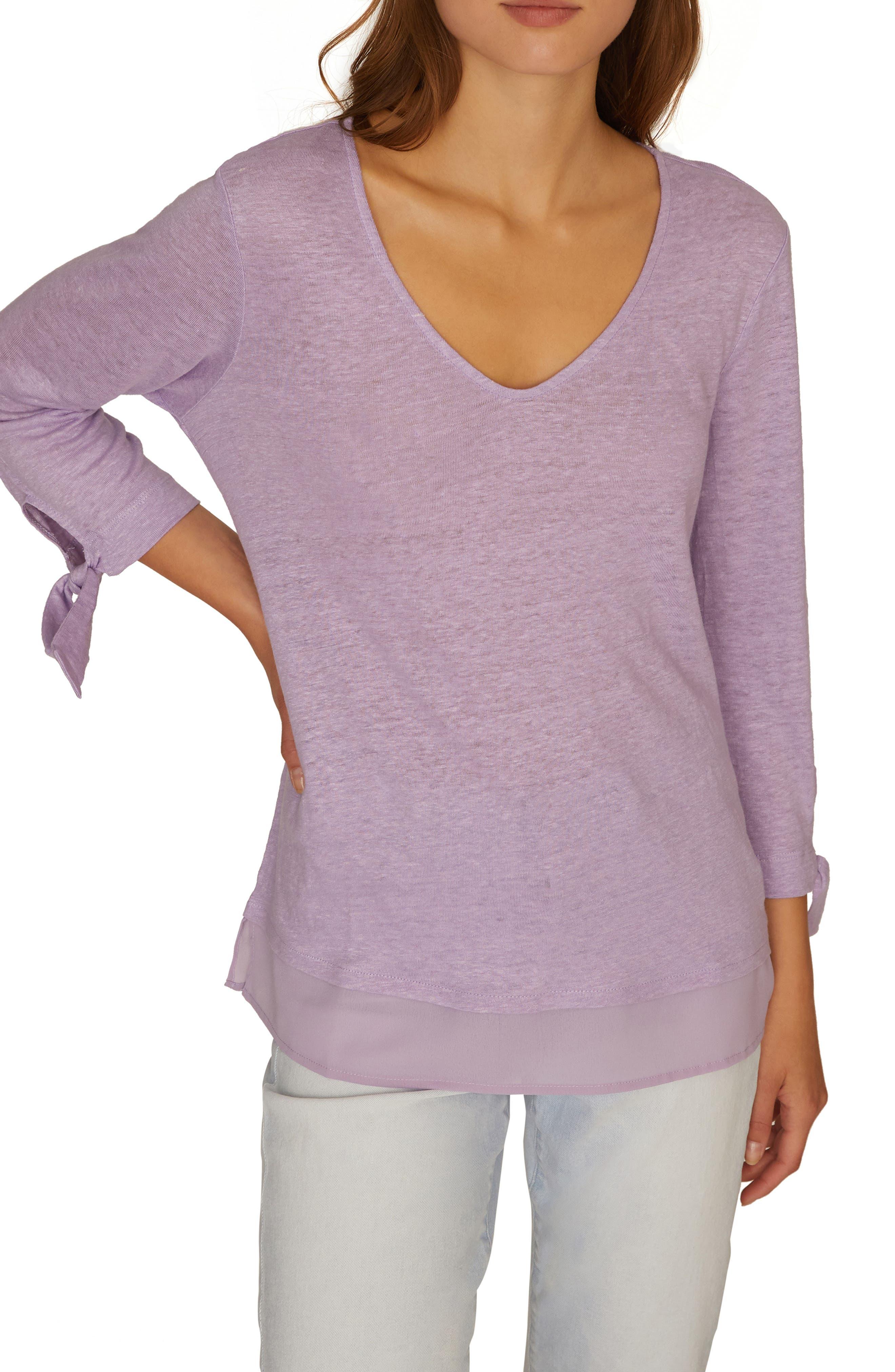 Sanctuary Sylvie Tiered Hem Linen Tee, Purple