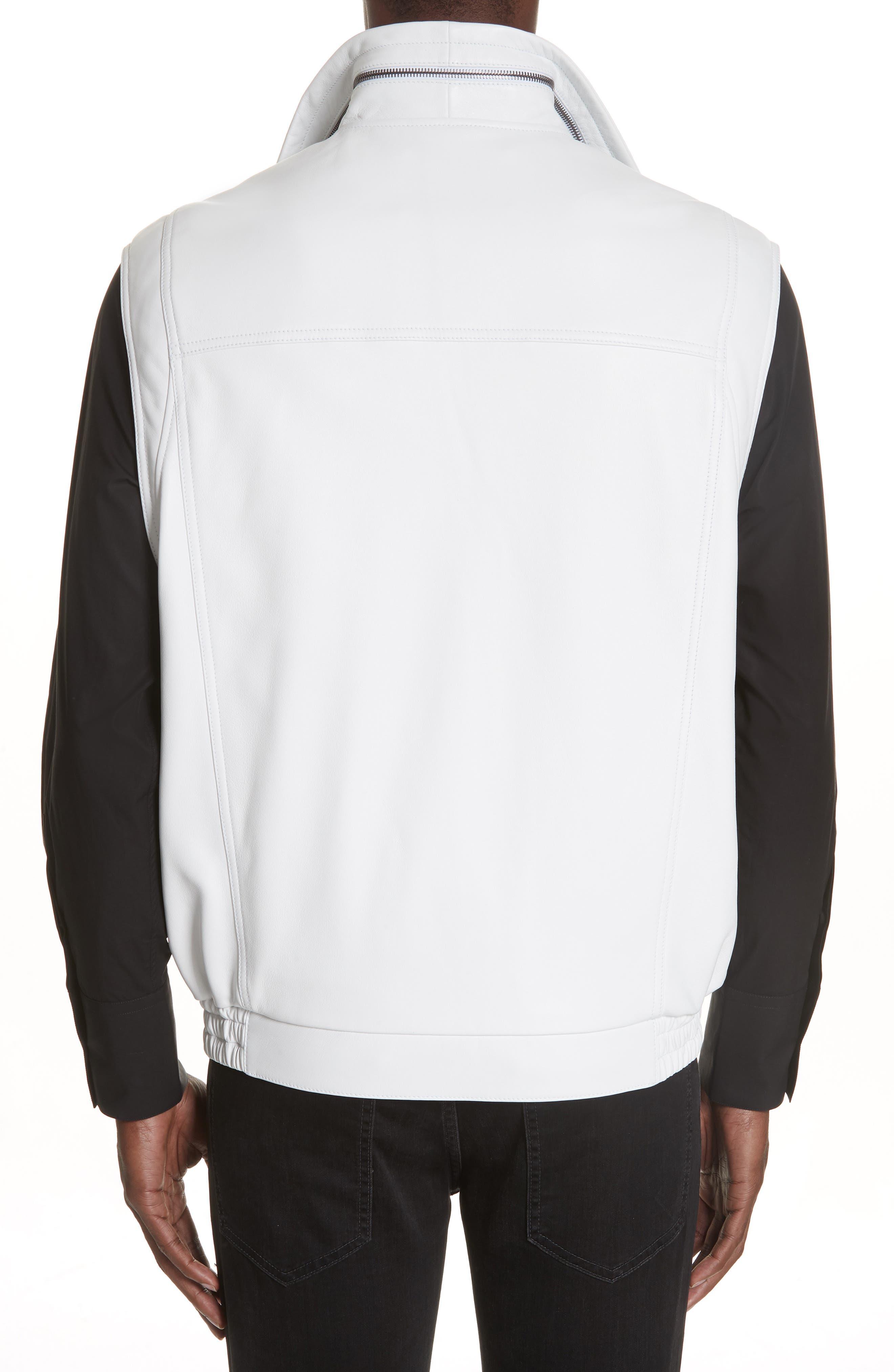 Sleeveless Zip Leather Vest,                             Alternate thumbnail 2, color,                             WHITE