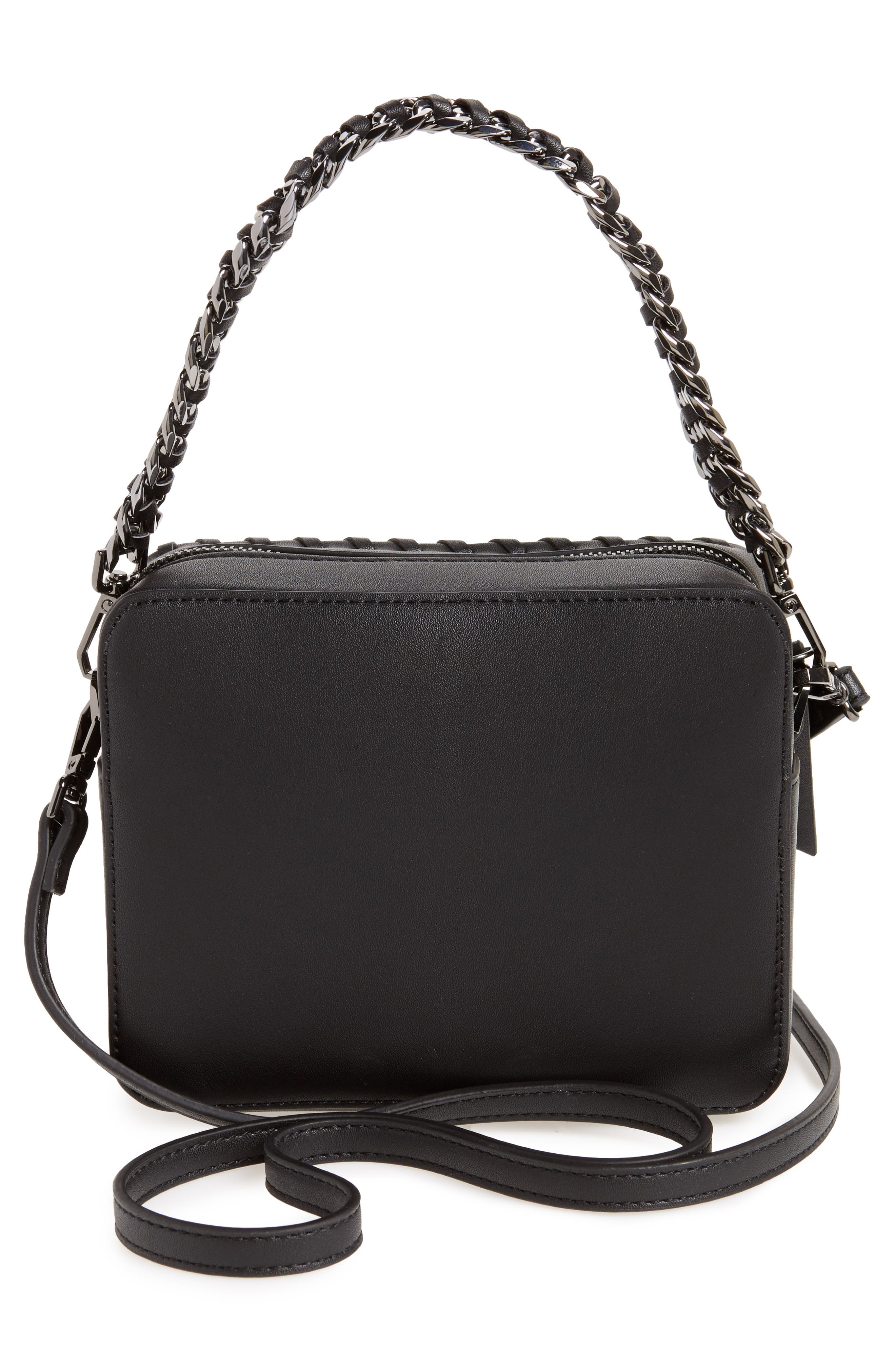 Rogue Whipstitch Faux Leather Crossbody Bag,                             Alternate thumbnail 3, color,                             001
