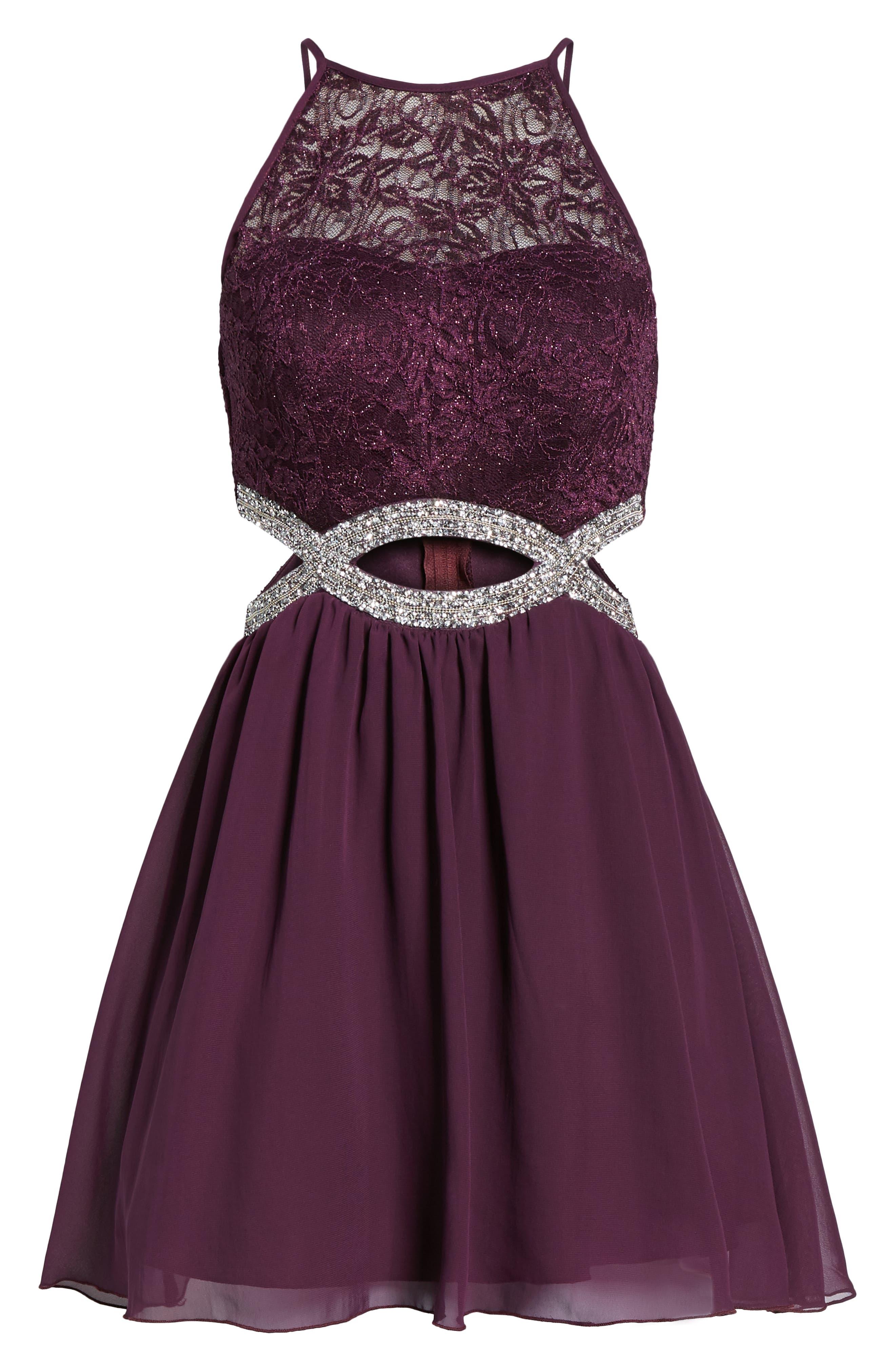 Lace Halter Dress,                             Alternate thumbnail 7, color,                             BERRY WINE