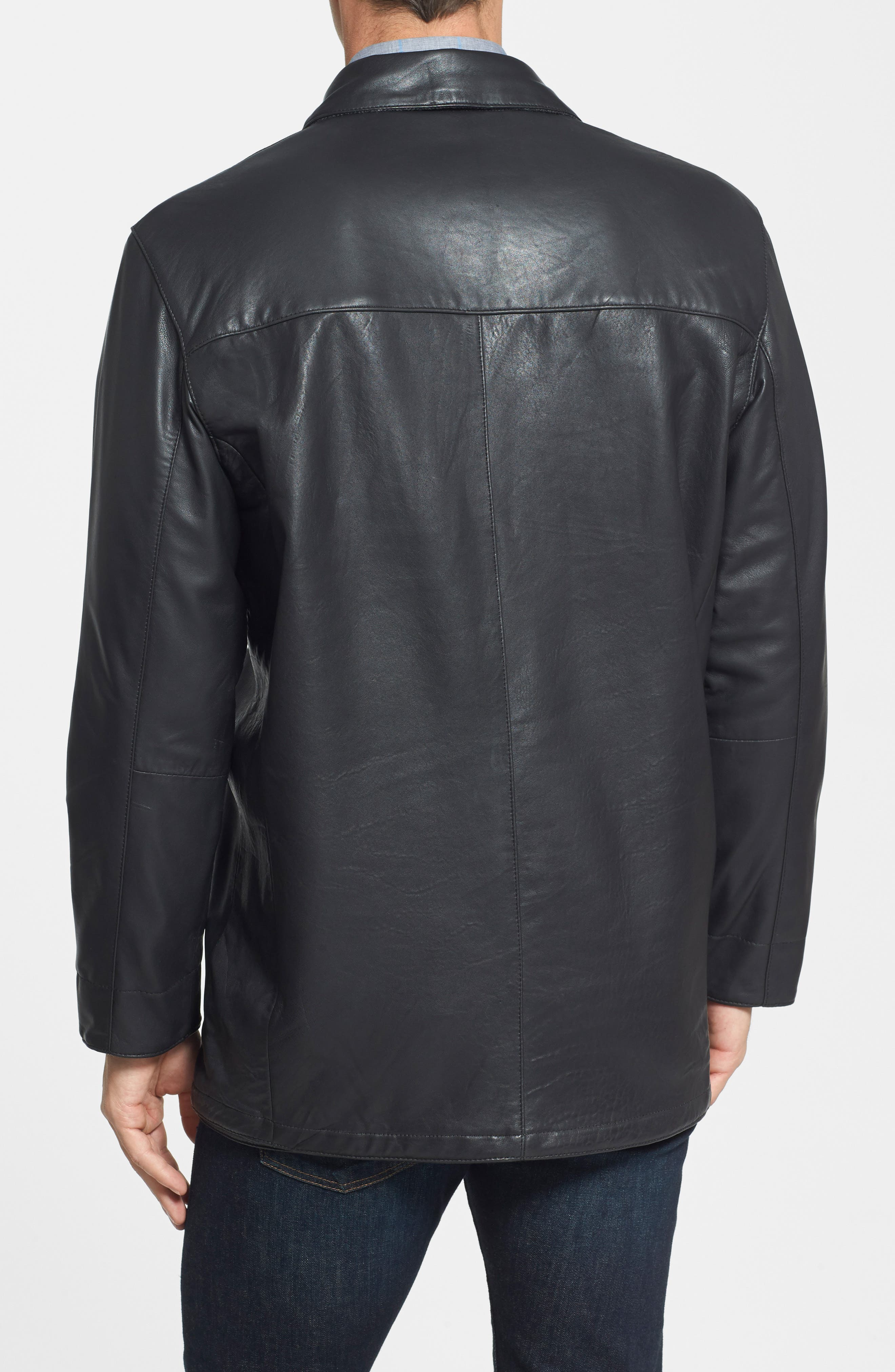 Classic Fit Reversible Leather & Lambswool Car Coat,                             Alternate thumbnail 4, color,                             BLACK