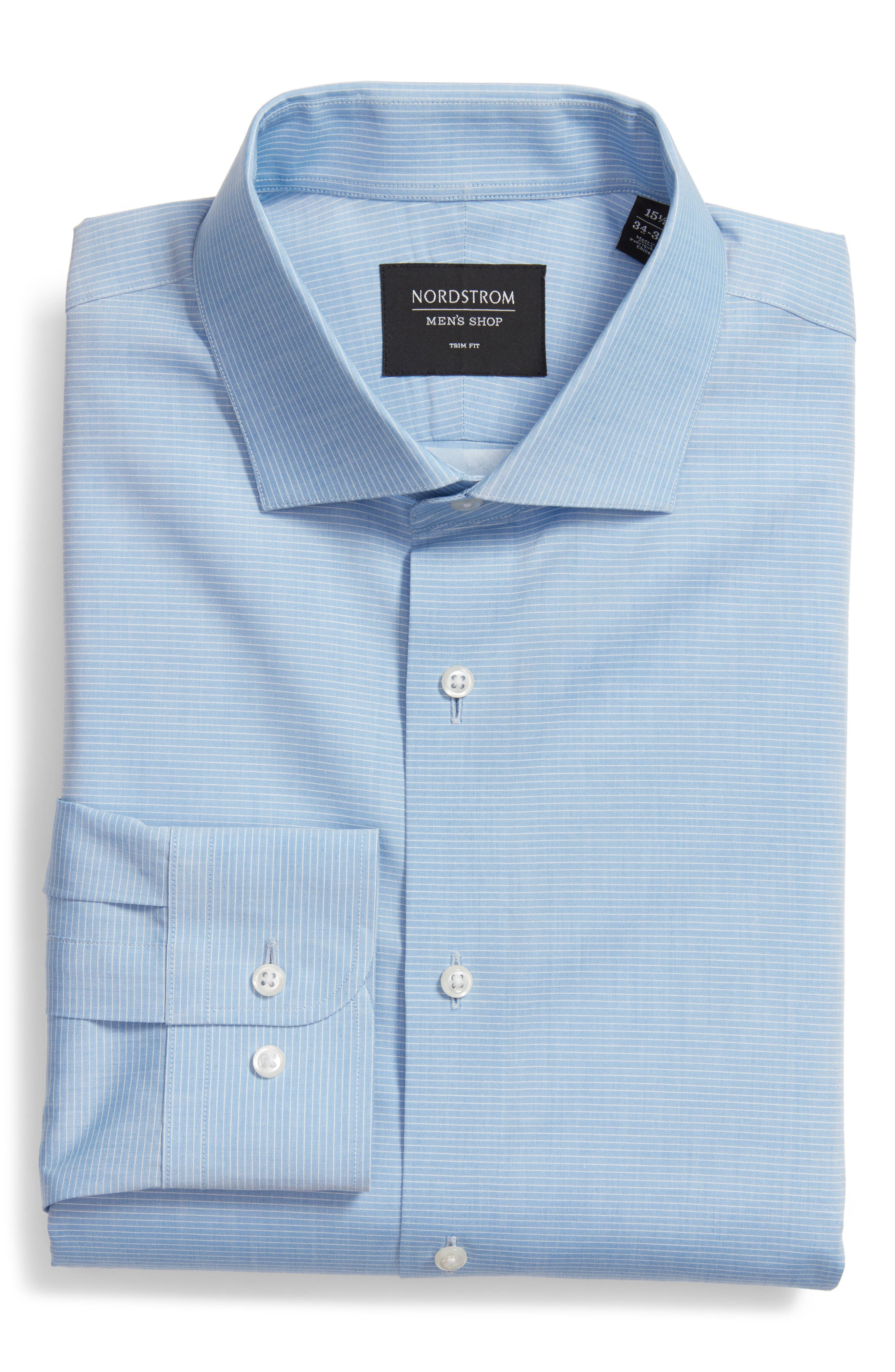 Trim Fit Stripe Dress Shirt,                         Main,                         color, 450