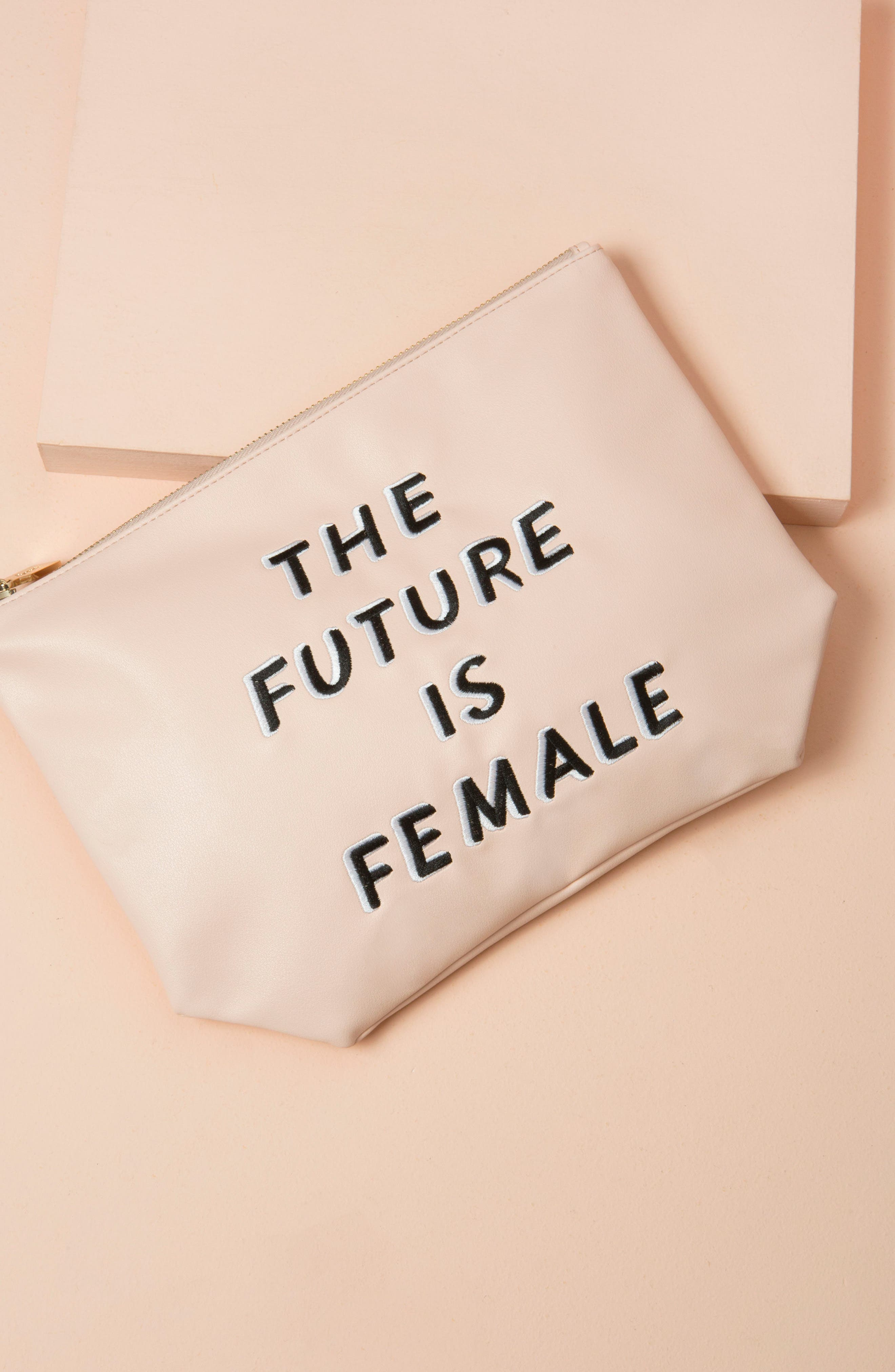 The Future is Female Faux Leather Everyday Pouch,                             Alternate thumbnail 4, color,                             650