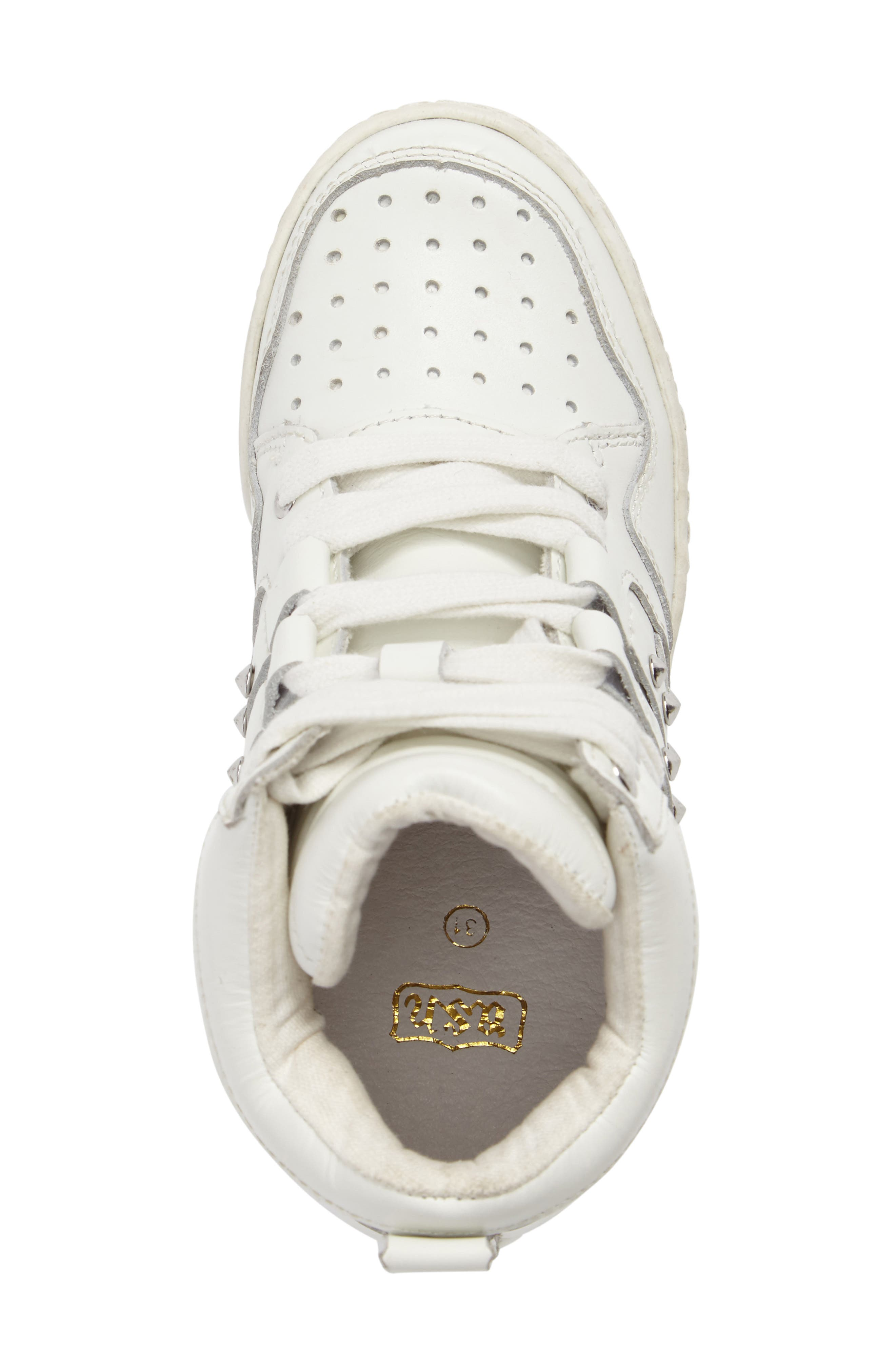 Boogie Studs High Top Sneaker,                             Alternate thumbnail 5, color,                             100