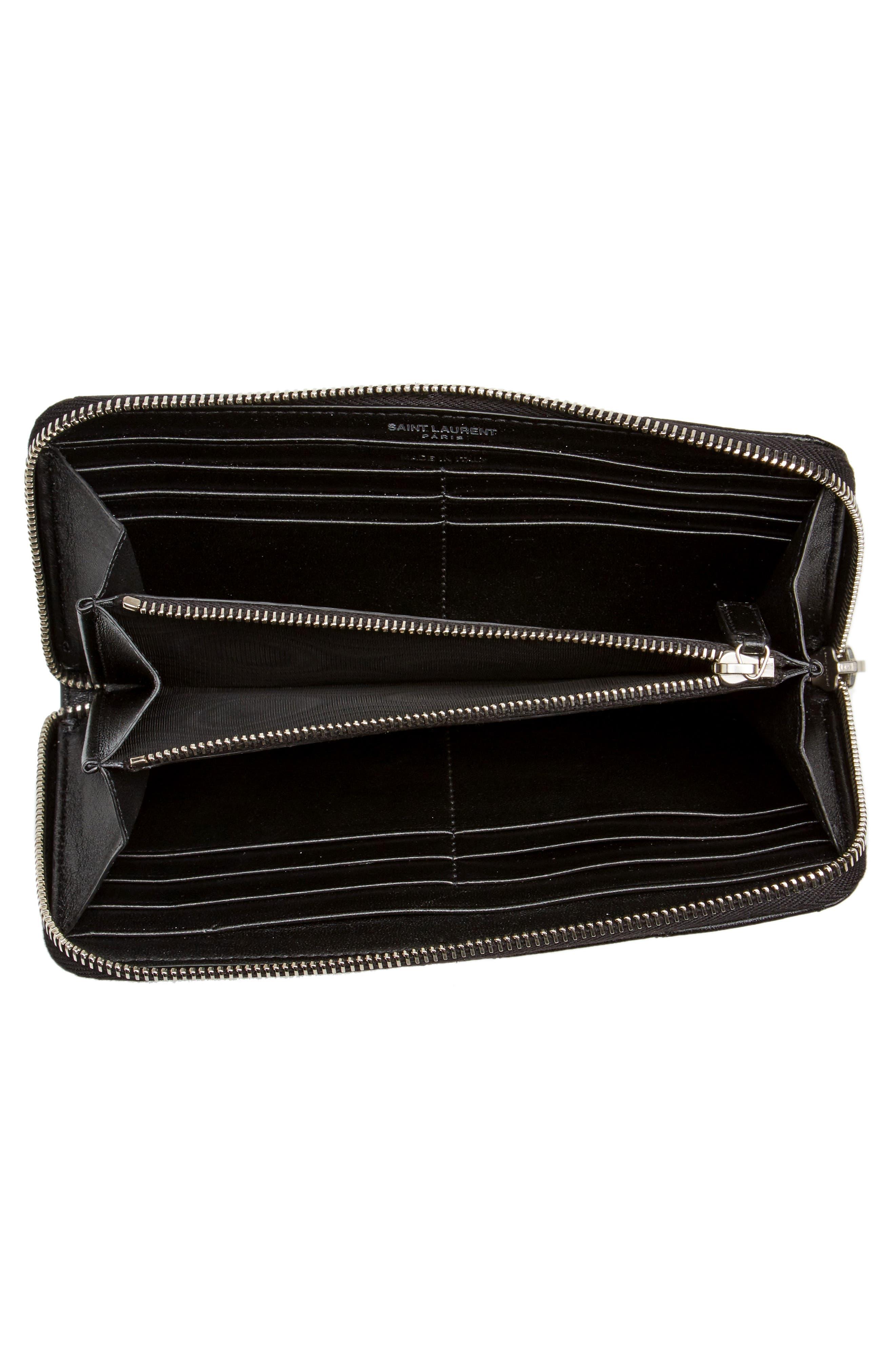 Loulou Matelassé Leather Zip-Around Wallet,                             Alternate thumbnail 4, color,                             NOIR