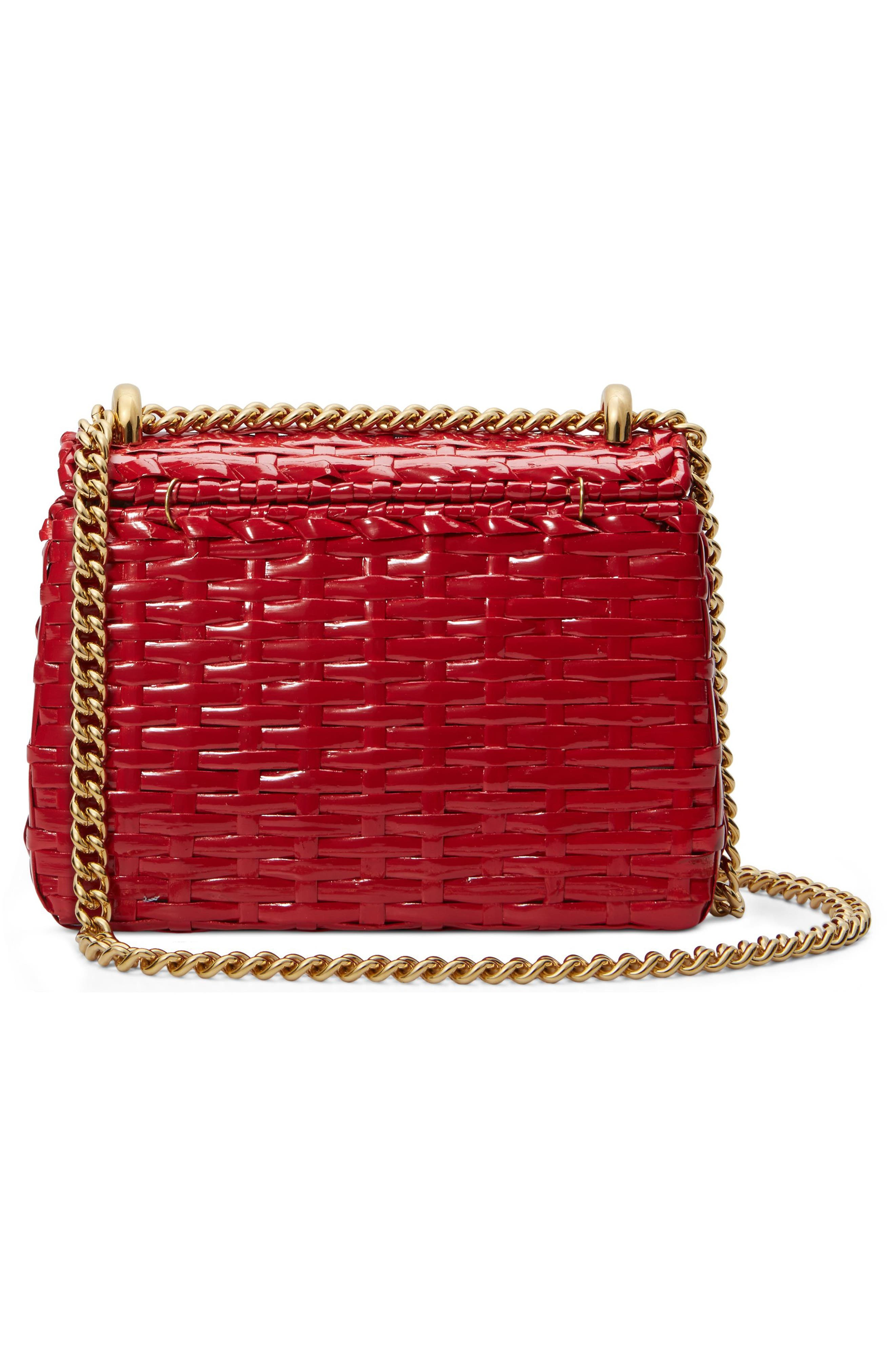 Small Linea Cestino Glazed Wicker Shoulder Bag,                             Alternate thumbnail 2, color,                             ROSSO