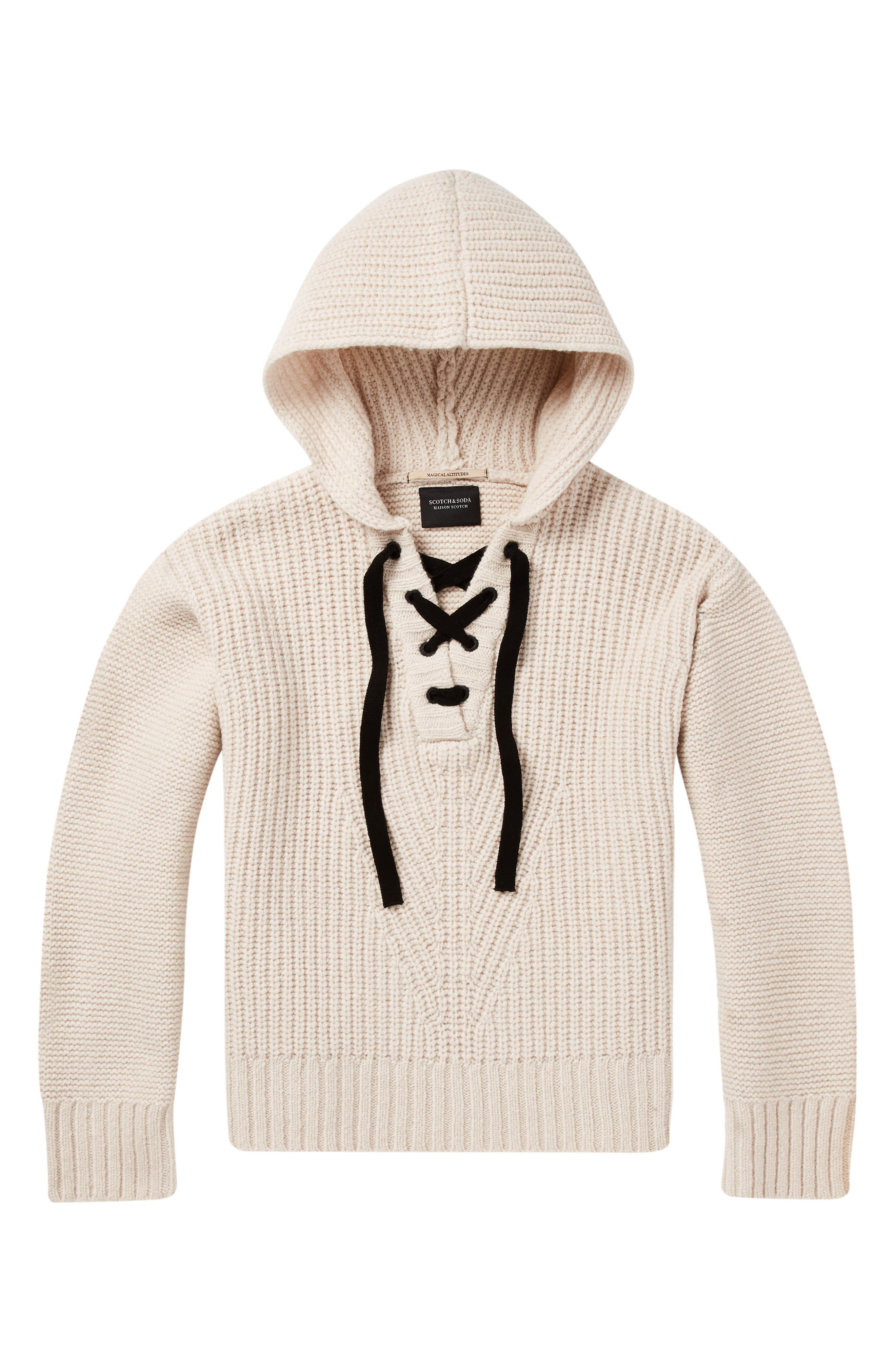 Lace-Up Knit Hooded Sweater,                             Alternate thumbnail 4, color,                             CREAM