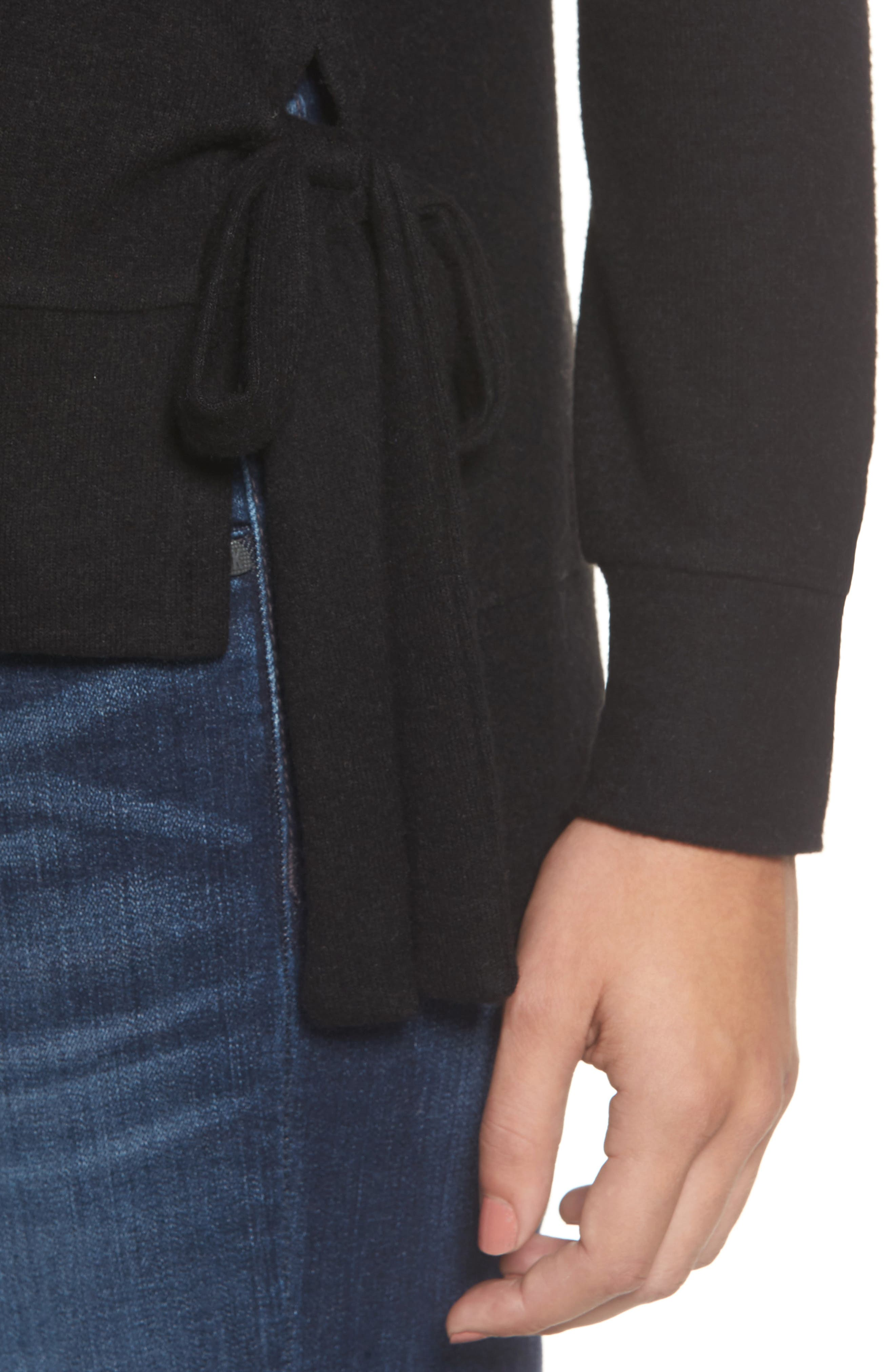 Side-Tie Fleece Pullover,                             Alternate thumbnail 4, color,                             001