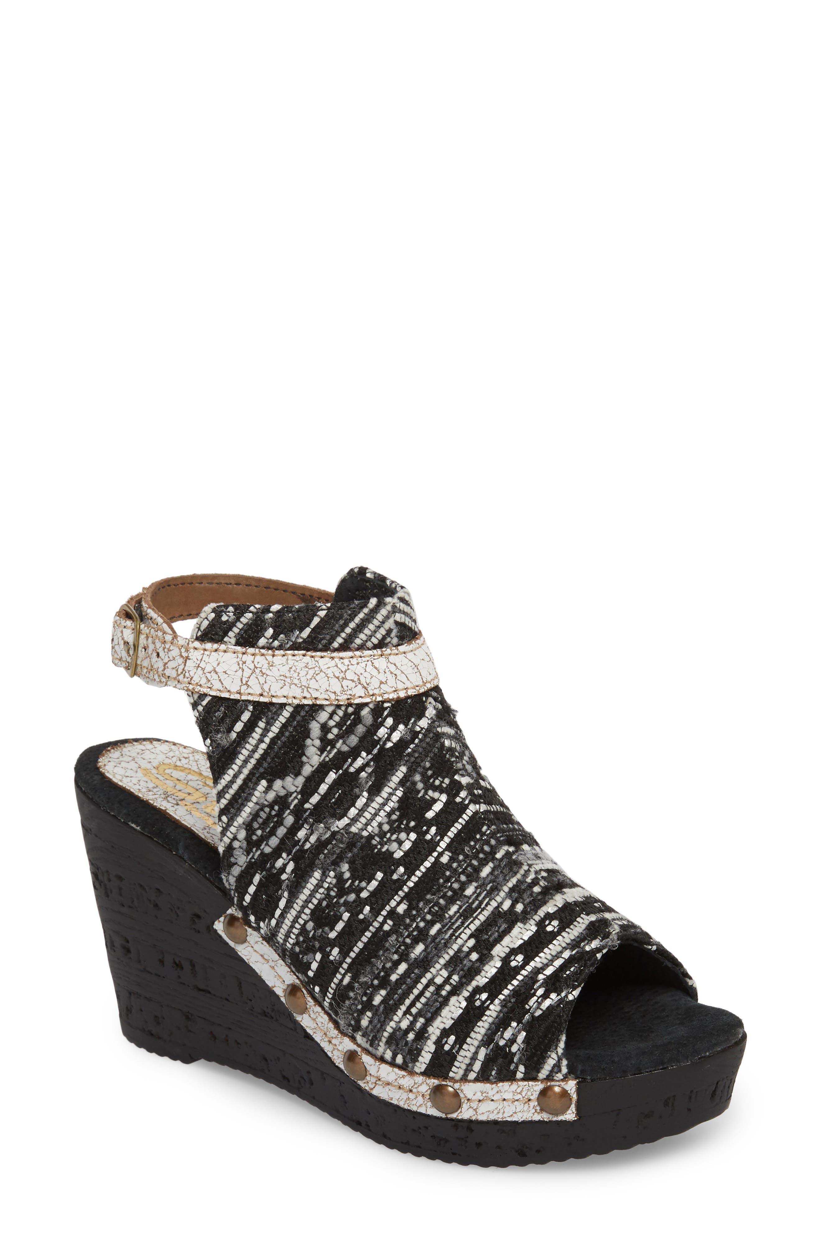 SBICCA,                             Sabari Peep Toe Wedge Sandal,                             Main thumbnail 1, color,                             001
