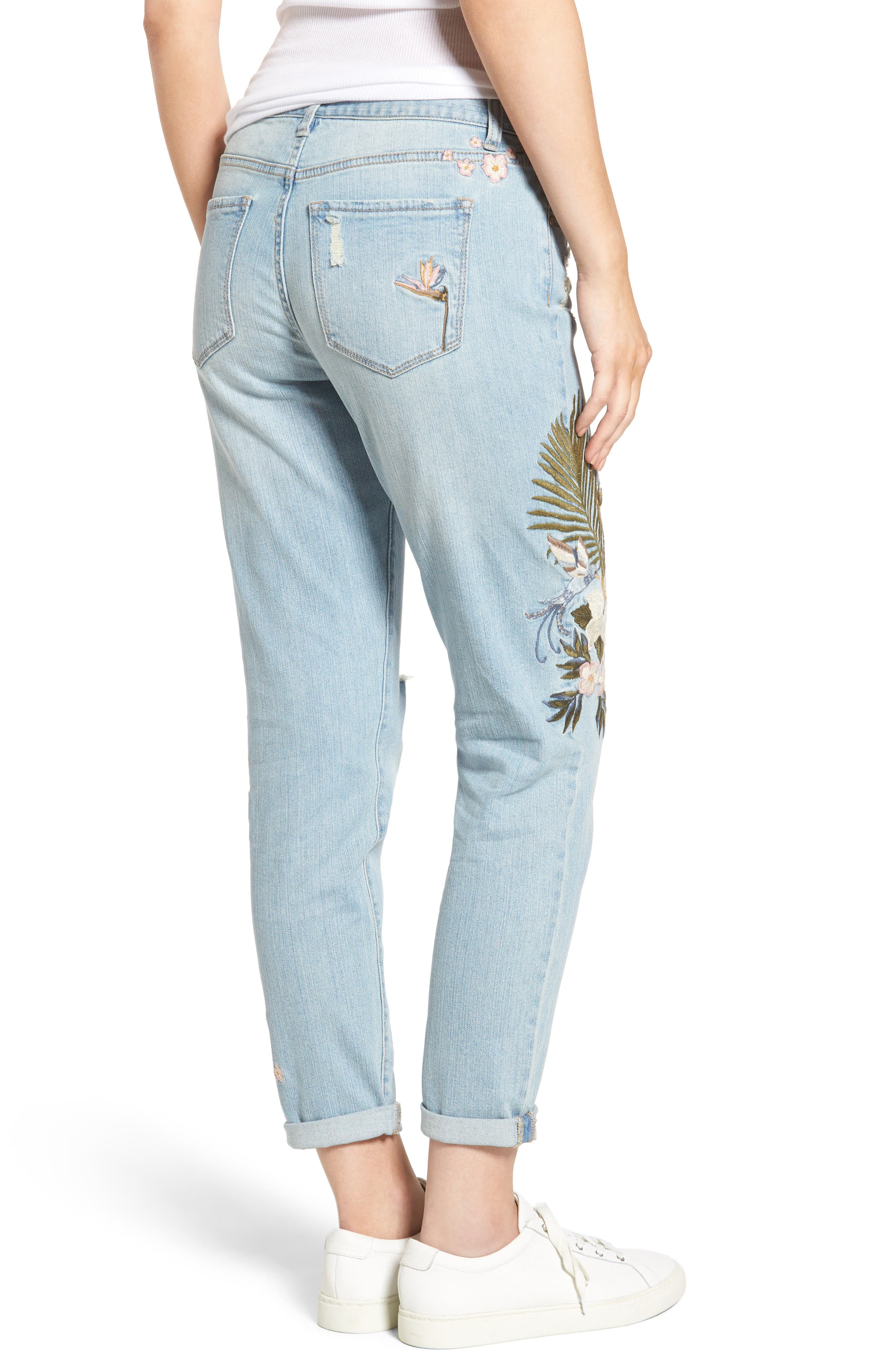 Floral Embroidered Boyfriend Jeans,                             Alternate thumbnail 2, color,                             430