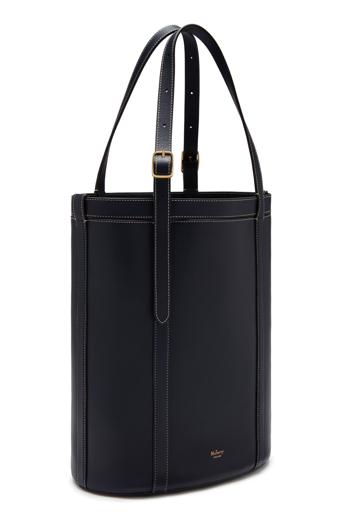 Small Wilton Leather Bucket Bag,                             Alternate thumbnail 4, color,                             MIDNIGHT