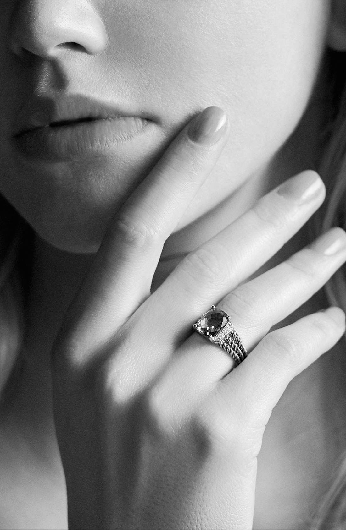 'Wheaton' Petite Ring with Semiprecious Stone & Diamonds,                             Alternate thumbnail 2, color,                             BLACK ONYX
