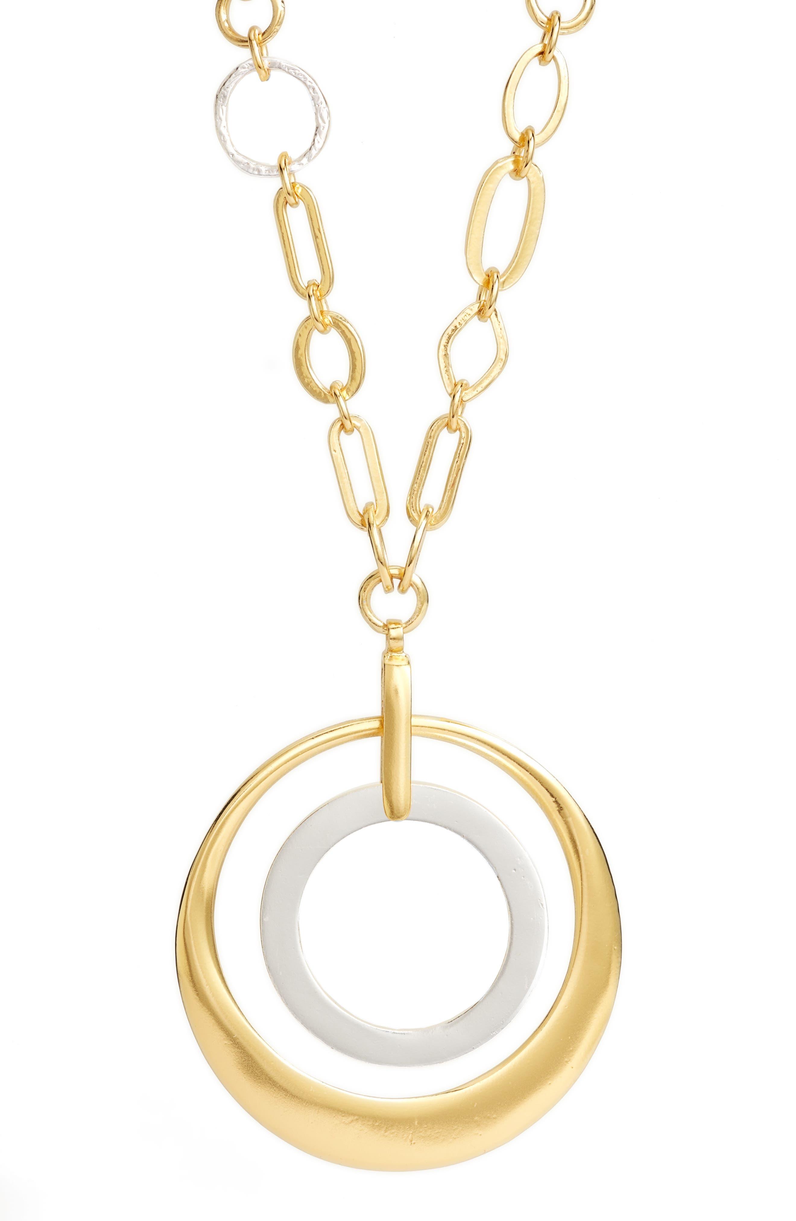 Double Circle Pendant Necklace,                             Alternate thumbnail 2, color,                             GOLD