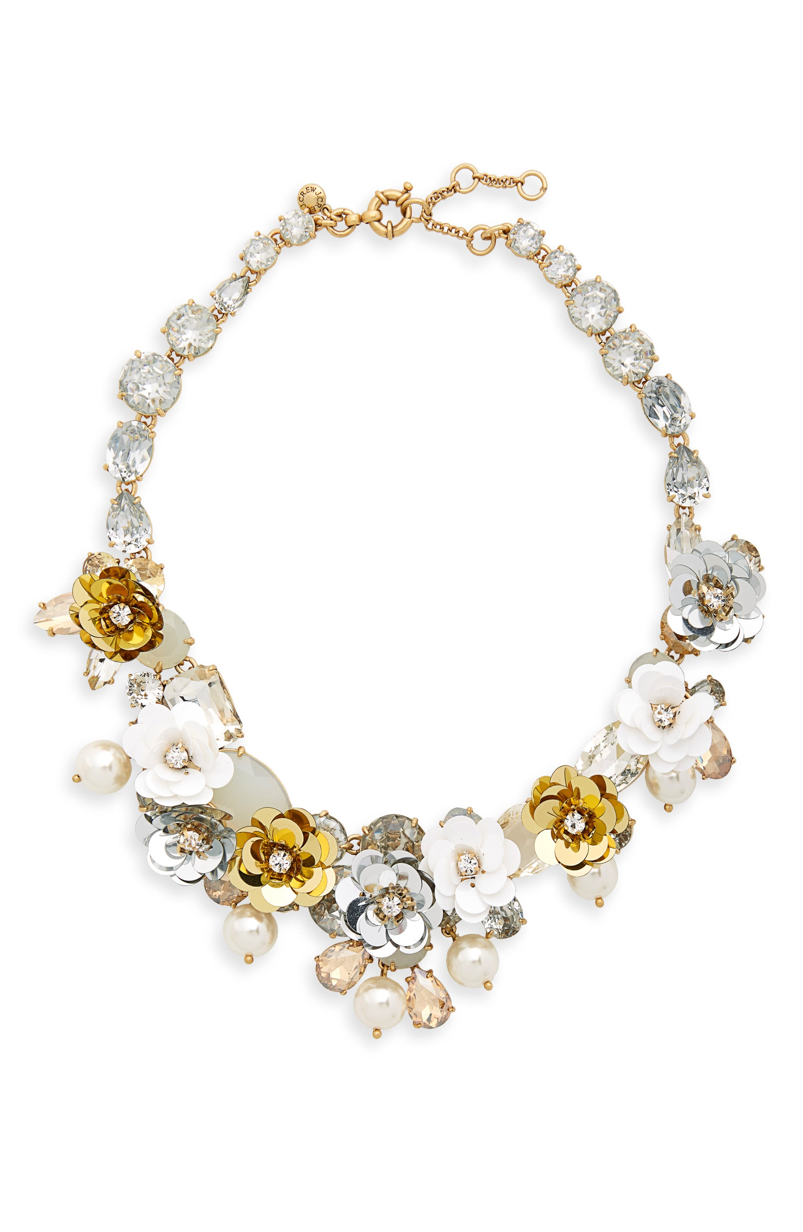 Crystal & Sequin Wreath Necklace,                             Main thumbnail 1, color,                             CRYSTAL