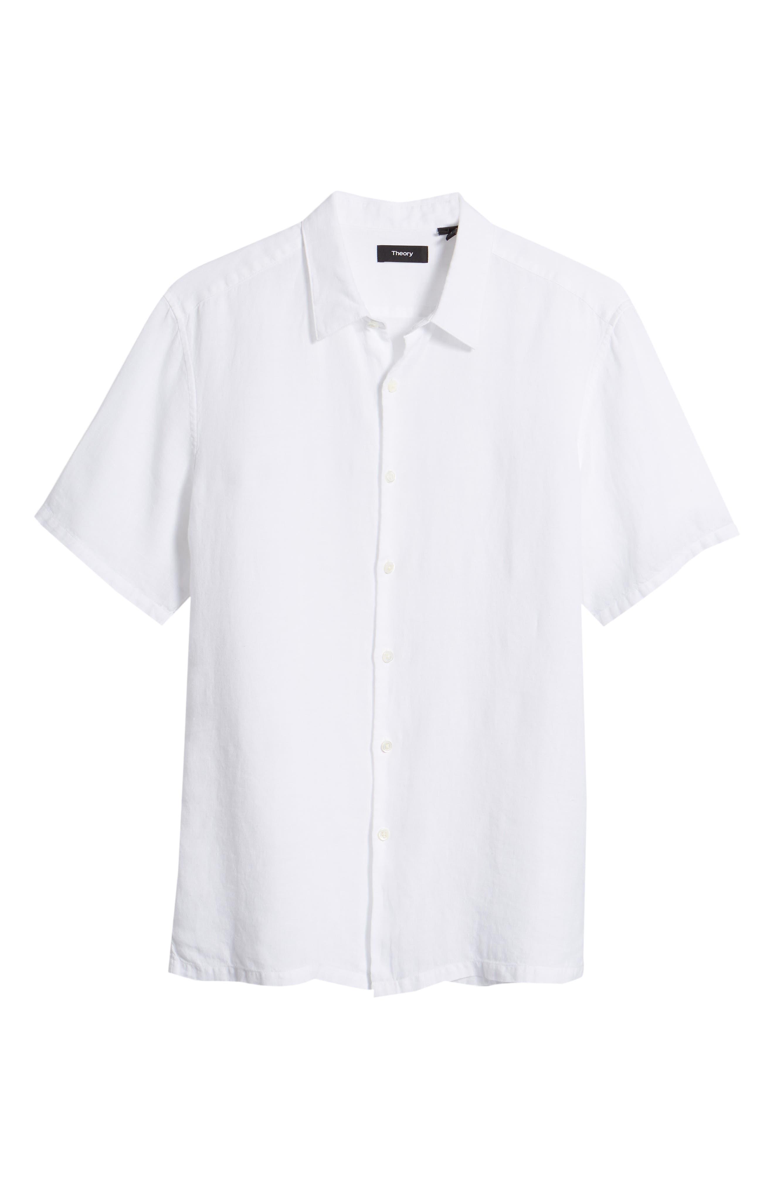 Irving Trim Fit Linen Short Sleeve Sport Shirt,                             Alternate thumbnail 6, color,                             100