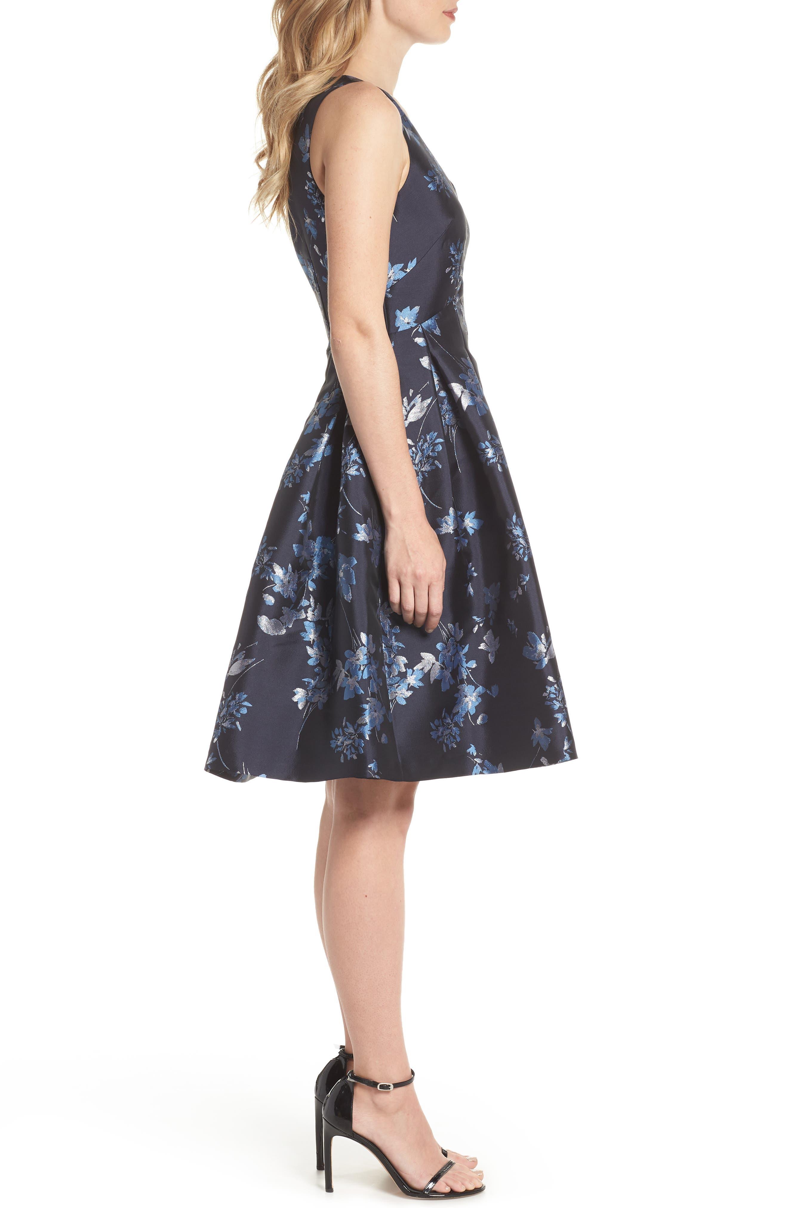 ELIZA J,                             V-Neck Fit & Flare Cocktail Dress,                             Alternate thumbnail 3, color,                             410