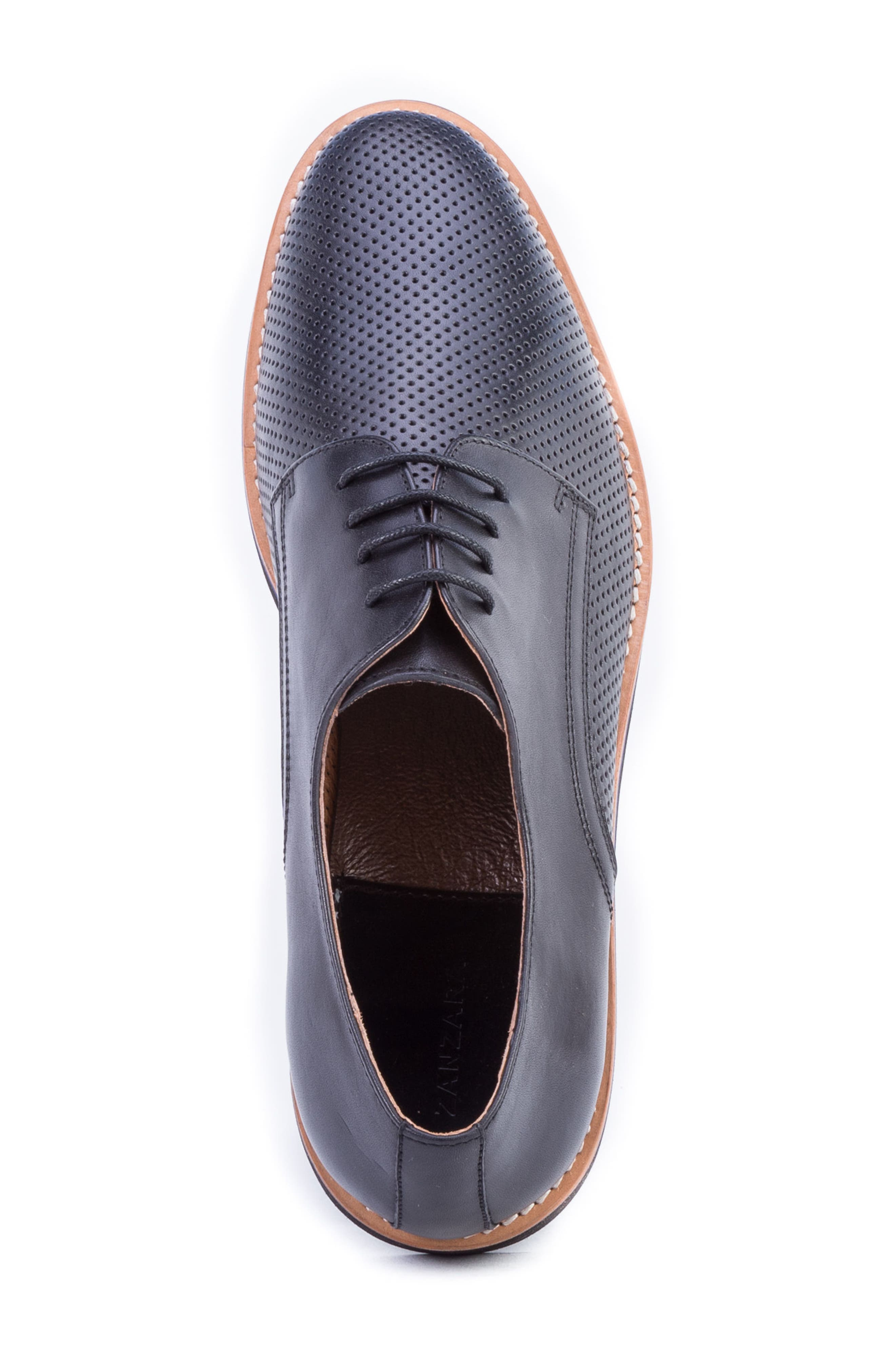 Hartung Perforated Plain Toe Derby,                             Alternate thumbnail 5, color,                             BLACK LEATHER