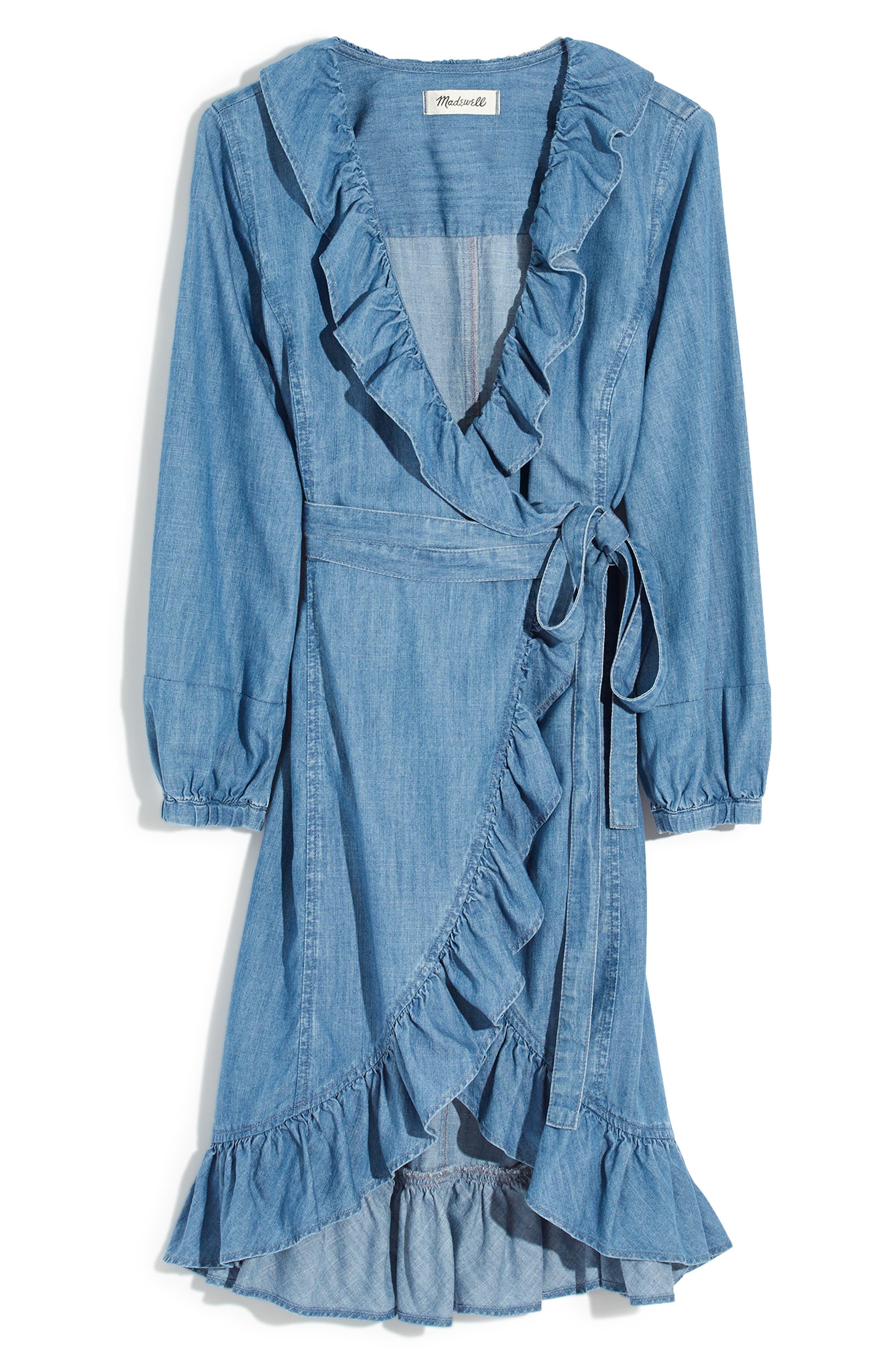 Denim Ruffle Wrap Dress,                             Alternate thumbnail 4, color,                             400