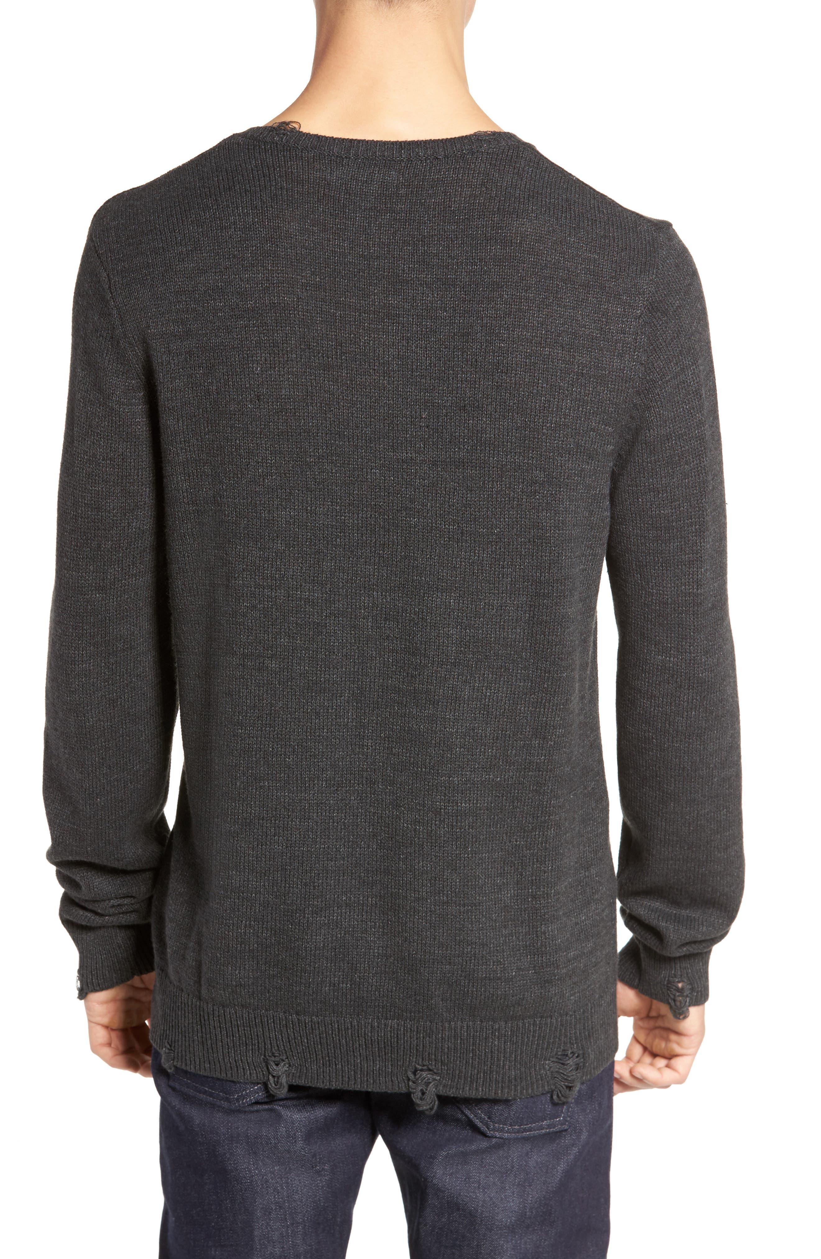 Destroyed Crewneck Sweater,                             Alternate thumbnail 2, color,                             030
