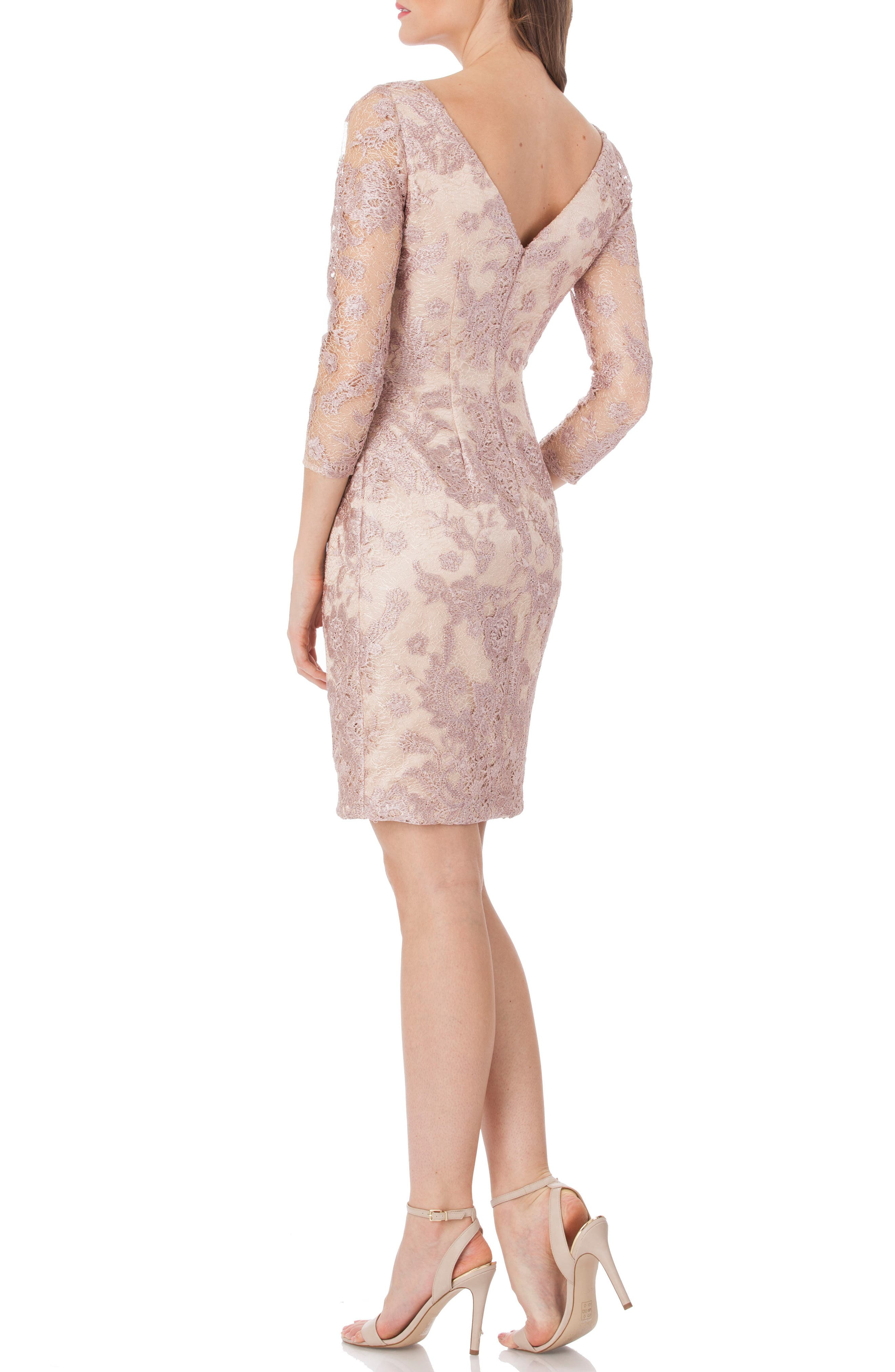 Embroidered Lace Cocktail Dress,                             Alternate thumbnail 2, color,                             LILAC/ PINK