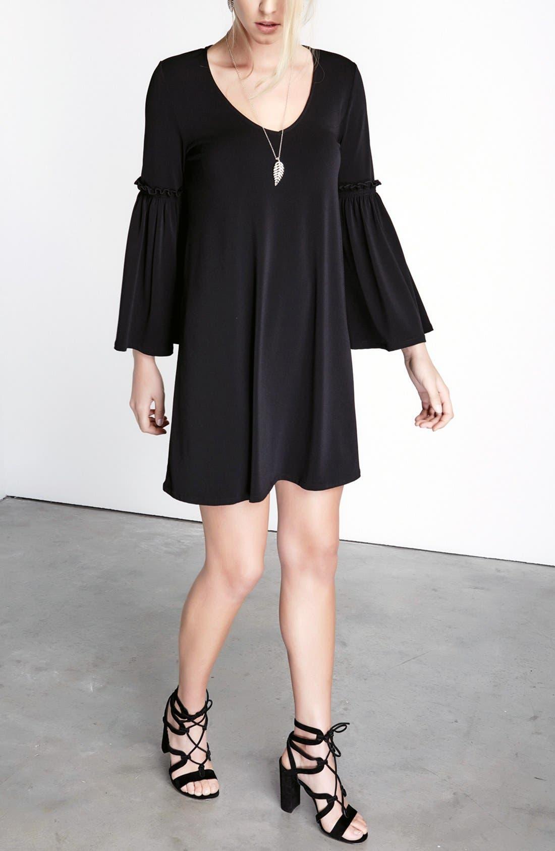 Bell Sleeve A-Line Dress,                             Alternate thumbnail 4, color,                             001
