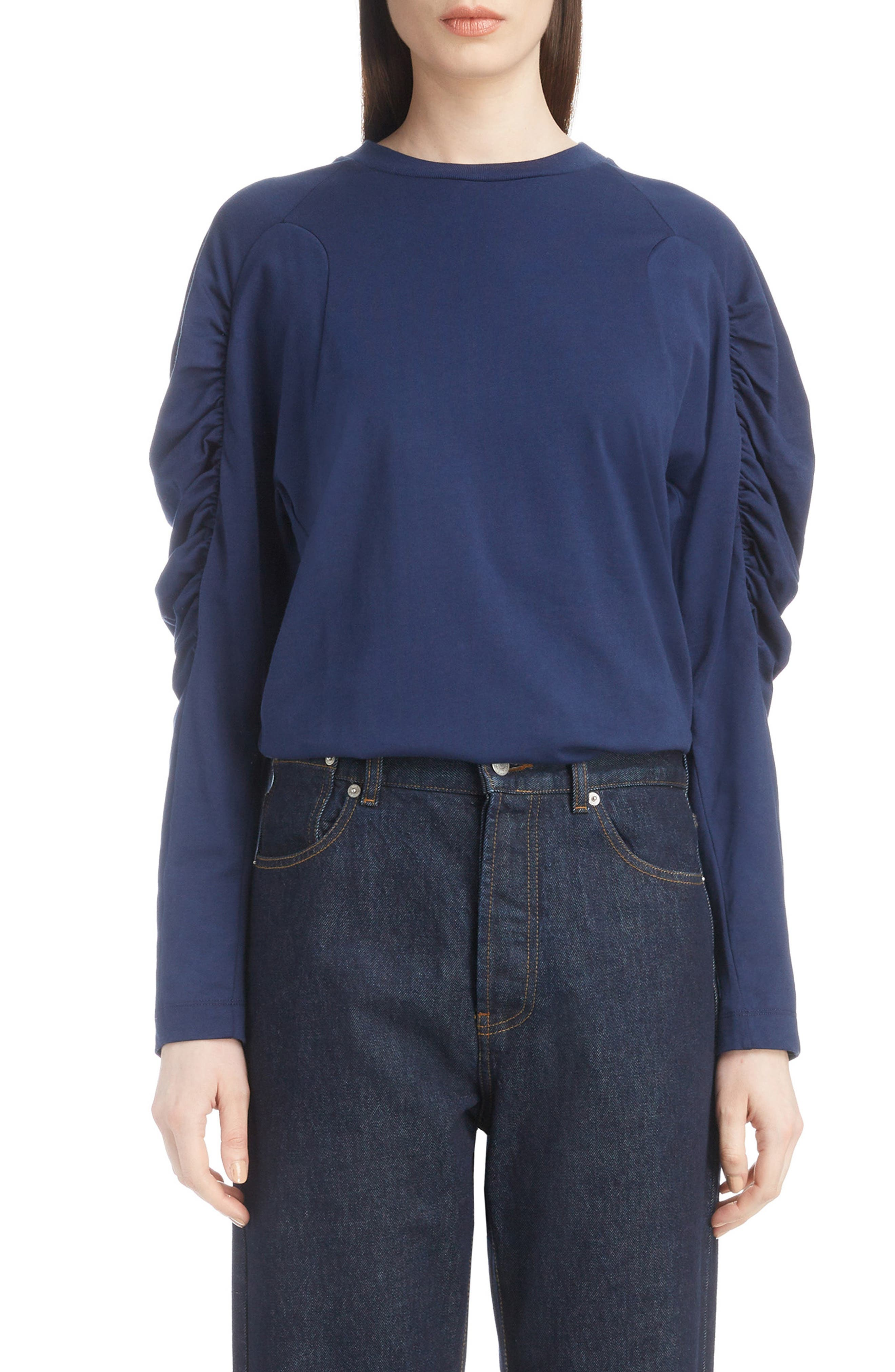 Jersey Ruched Sleeve Top,                         Main,                         color, BLUE