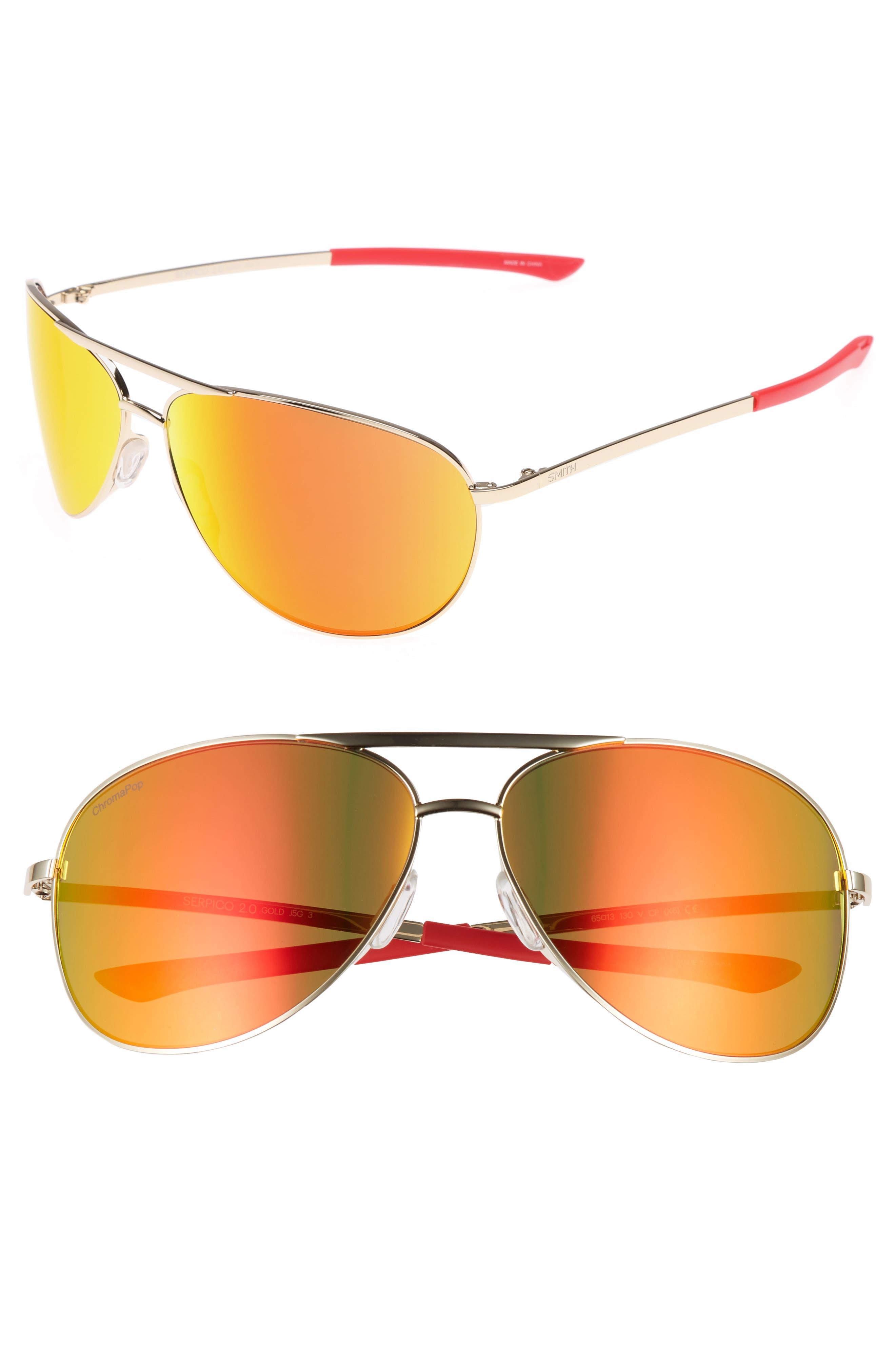 Serpico 2 65mm Mirrored ChromaPop<sup>™</sup> Polarized Aviator Sunglasses,                         Main,                         color, 710
