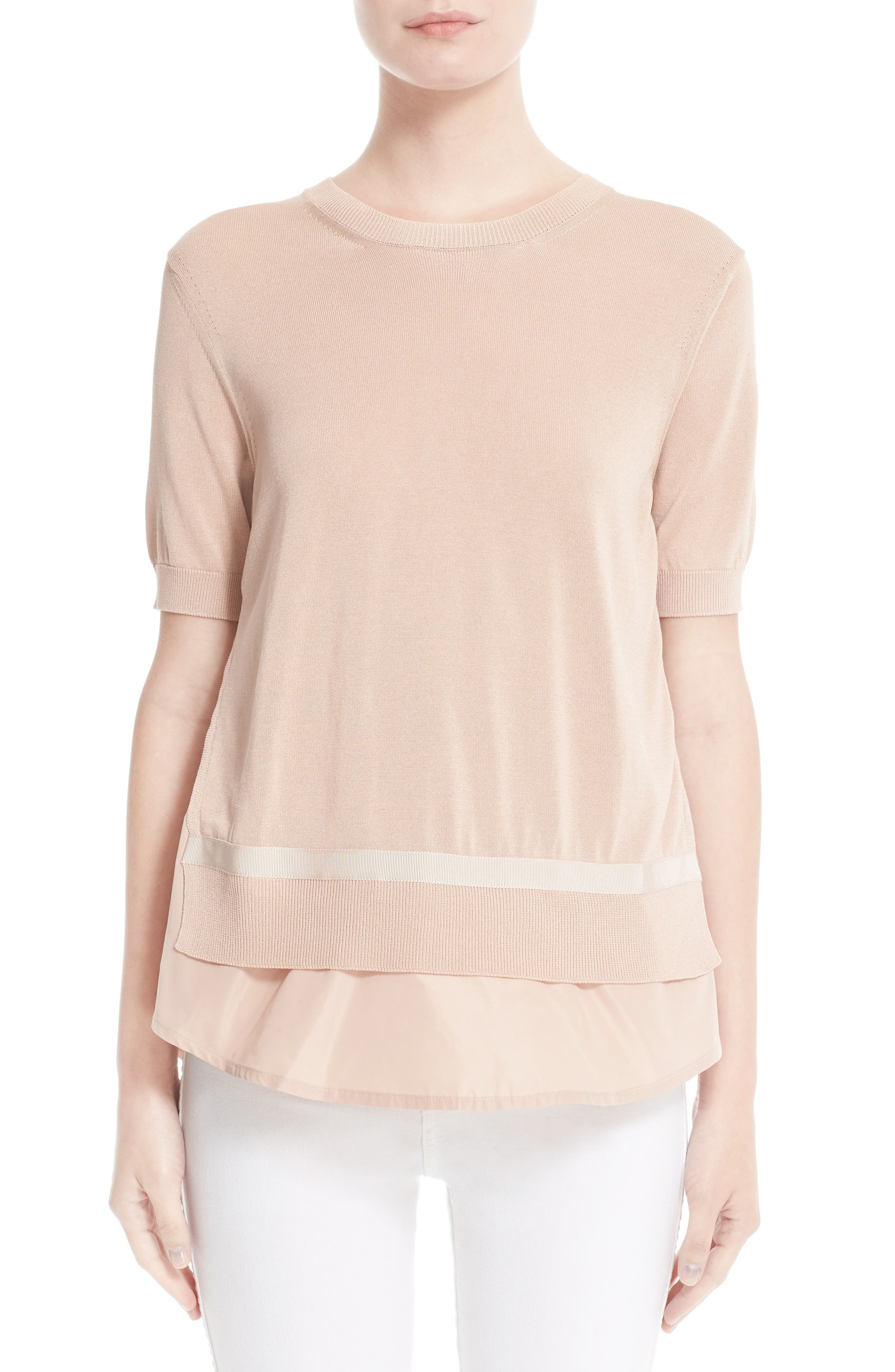 Tricot Knit Top,                         Main,                         color, BLUSH