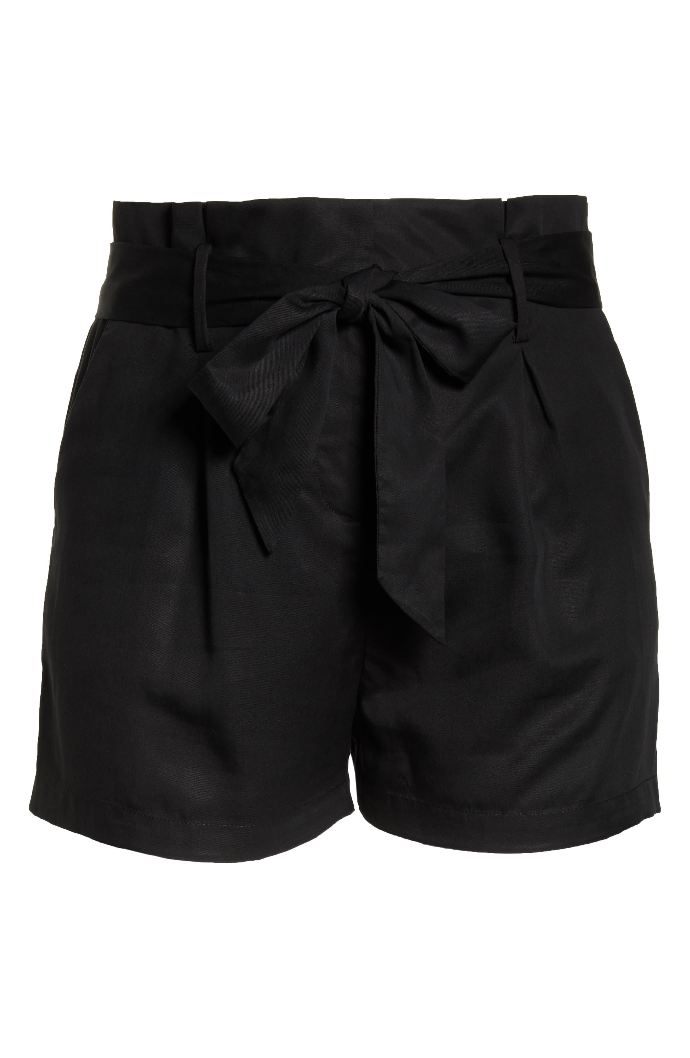 Tie Front Shorts,                             Alternate thumbnail 12, color,                             BLACK