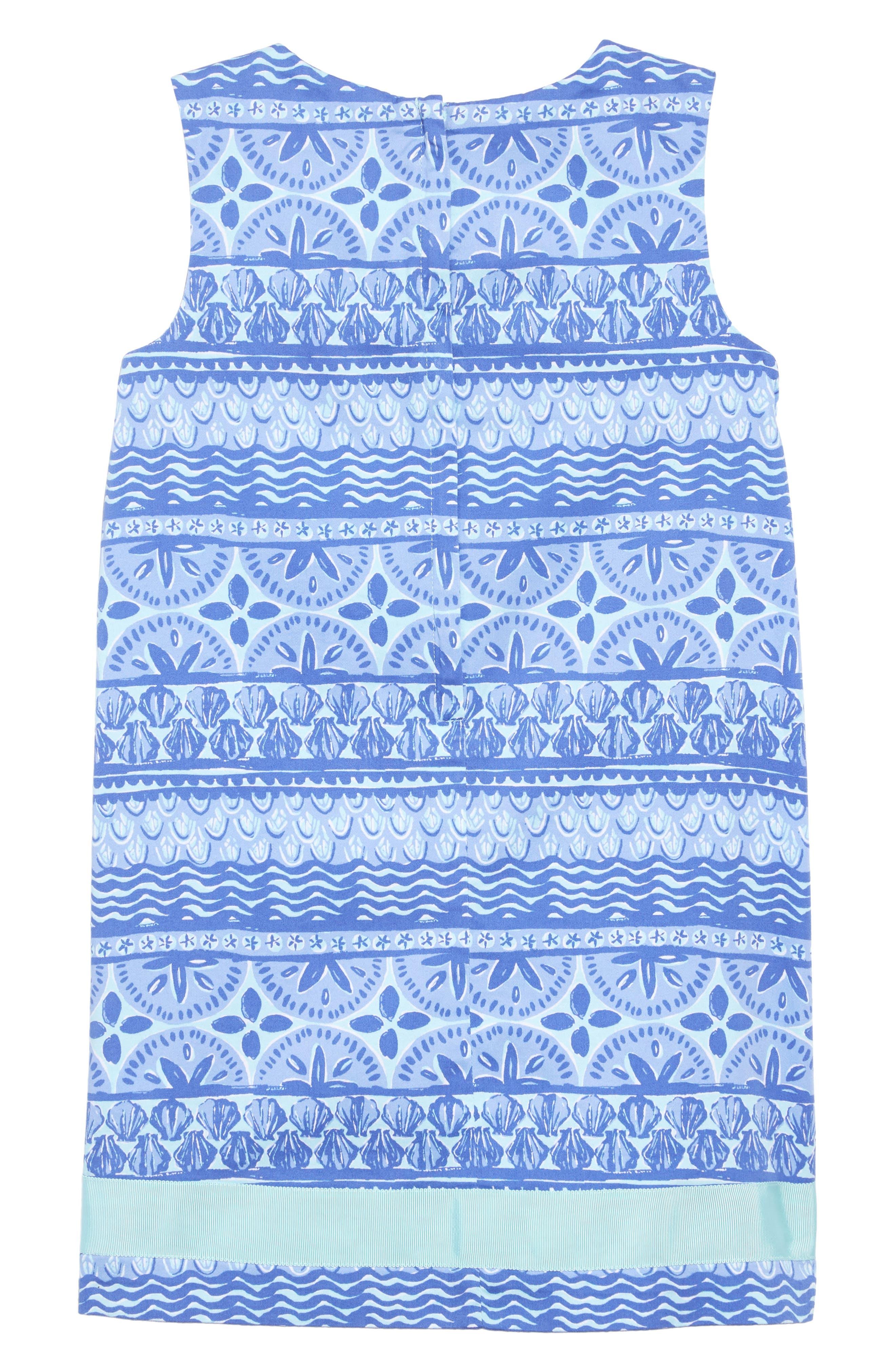 Shell Print Dress,                             Alternate thumbnail 2, color,                             CRYSTAL BLUE