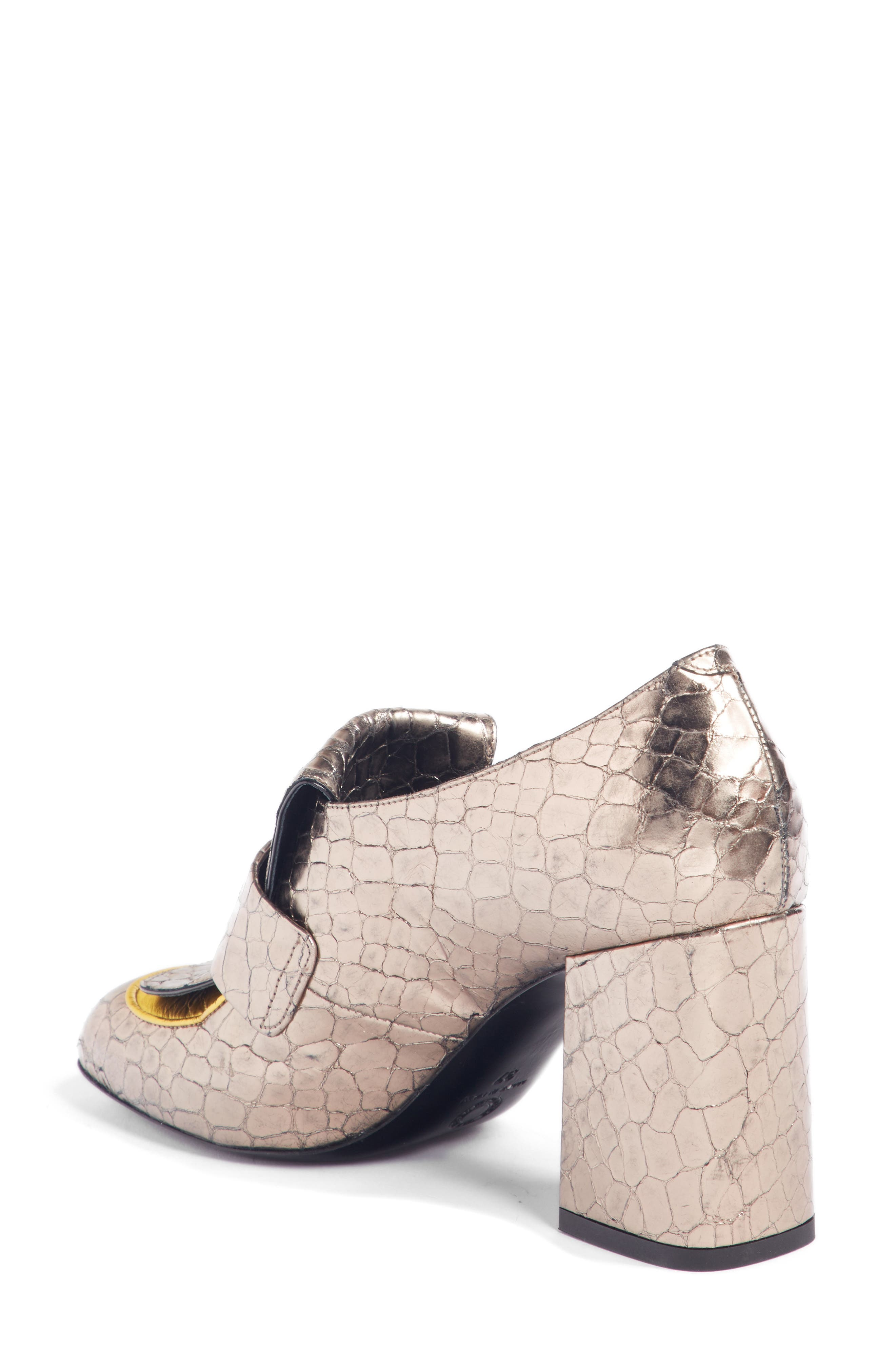 Reptile Loafer Pump,                             Alternate thumbnail 2, color,                             SILVER