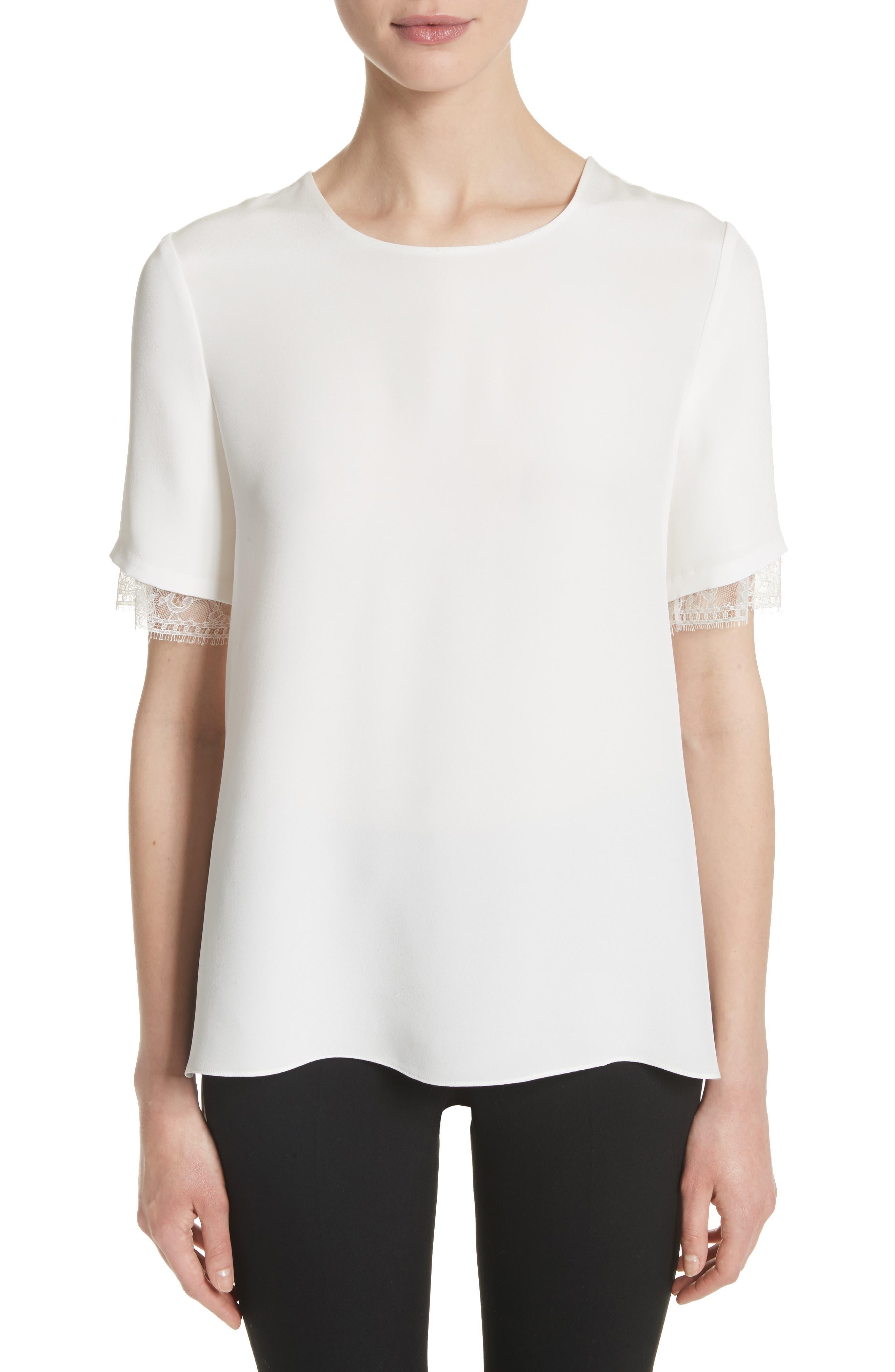 Lace Trim Silk Crepe Blouse,                         Main,                         color, 903