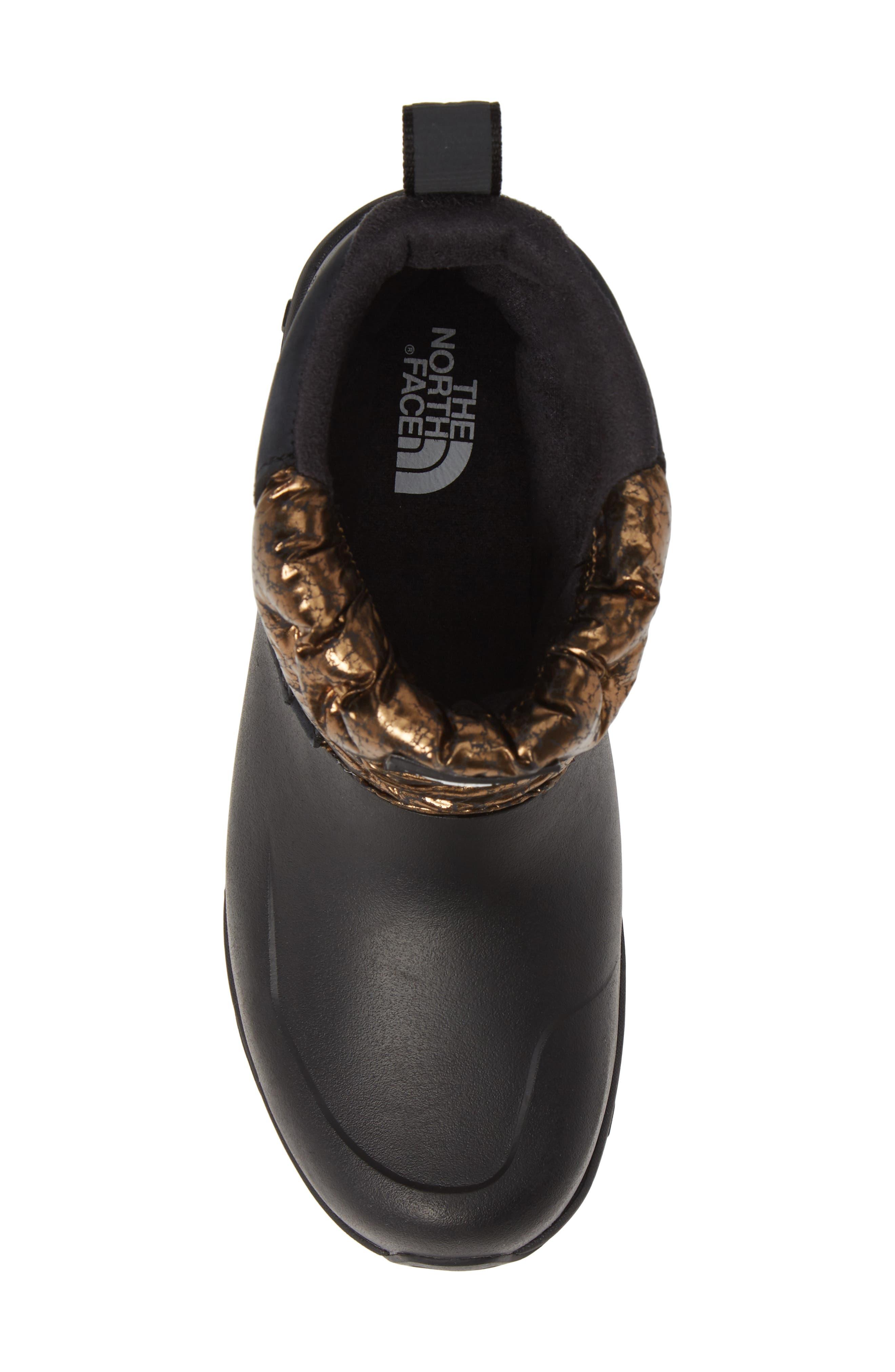 Yukiona Waterproof Ankle Boot,                             Alternate thumbnail 5, color,                             BLACK/ METALLIC COPPER